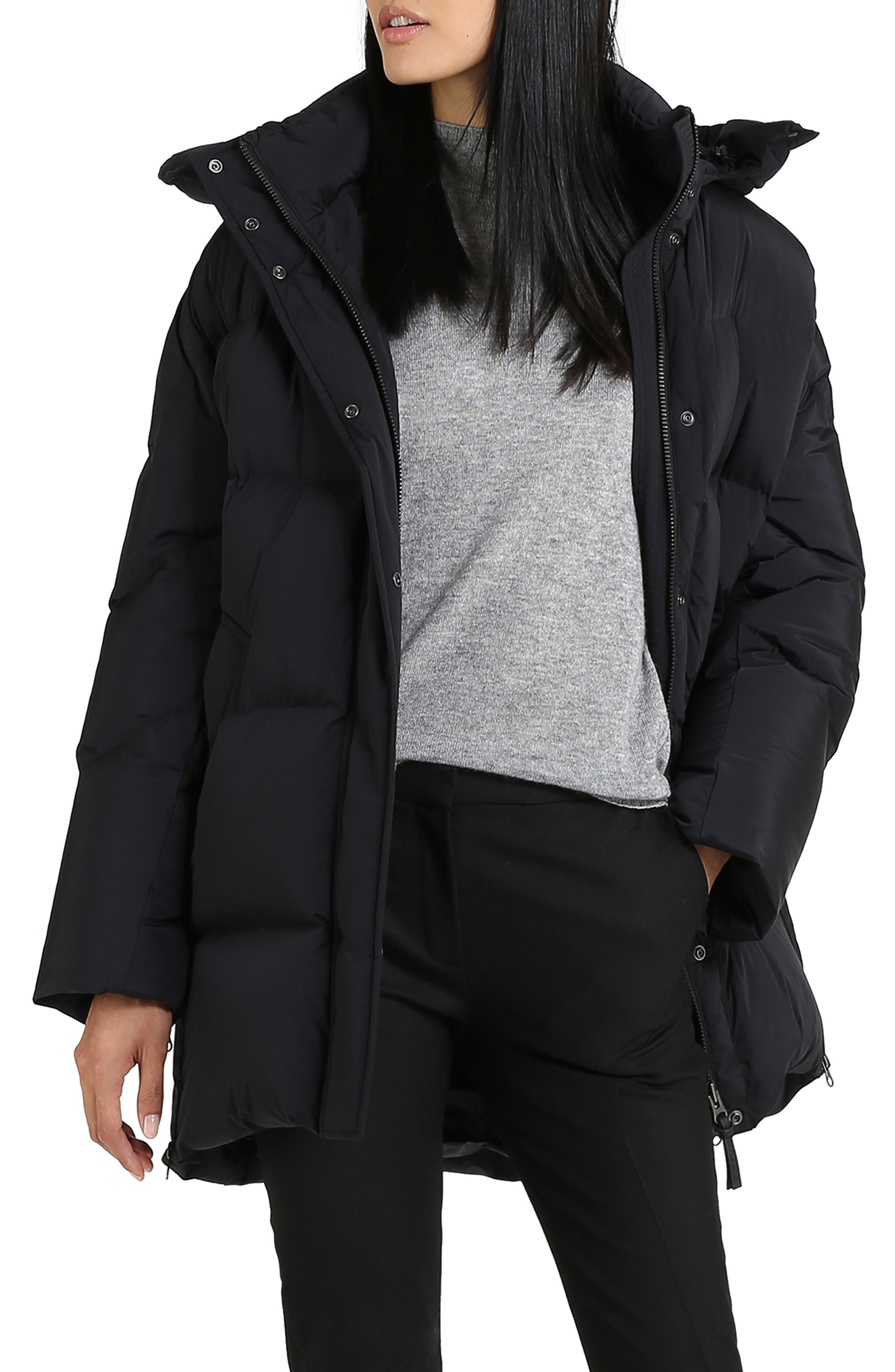 Aurora Water Repellent Puffy Down Coat,                         Main,                         color, BLACK