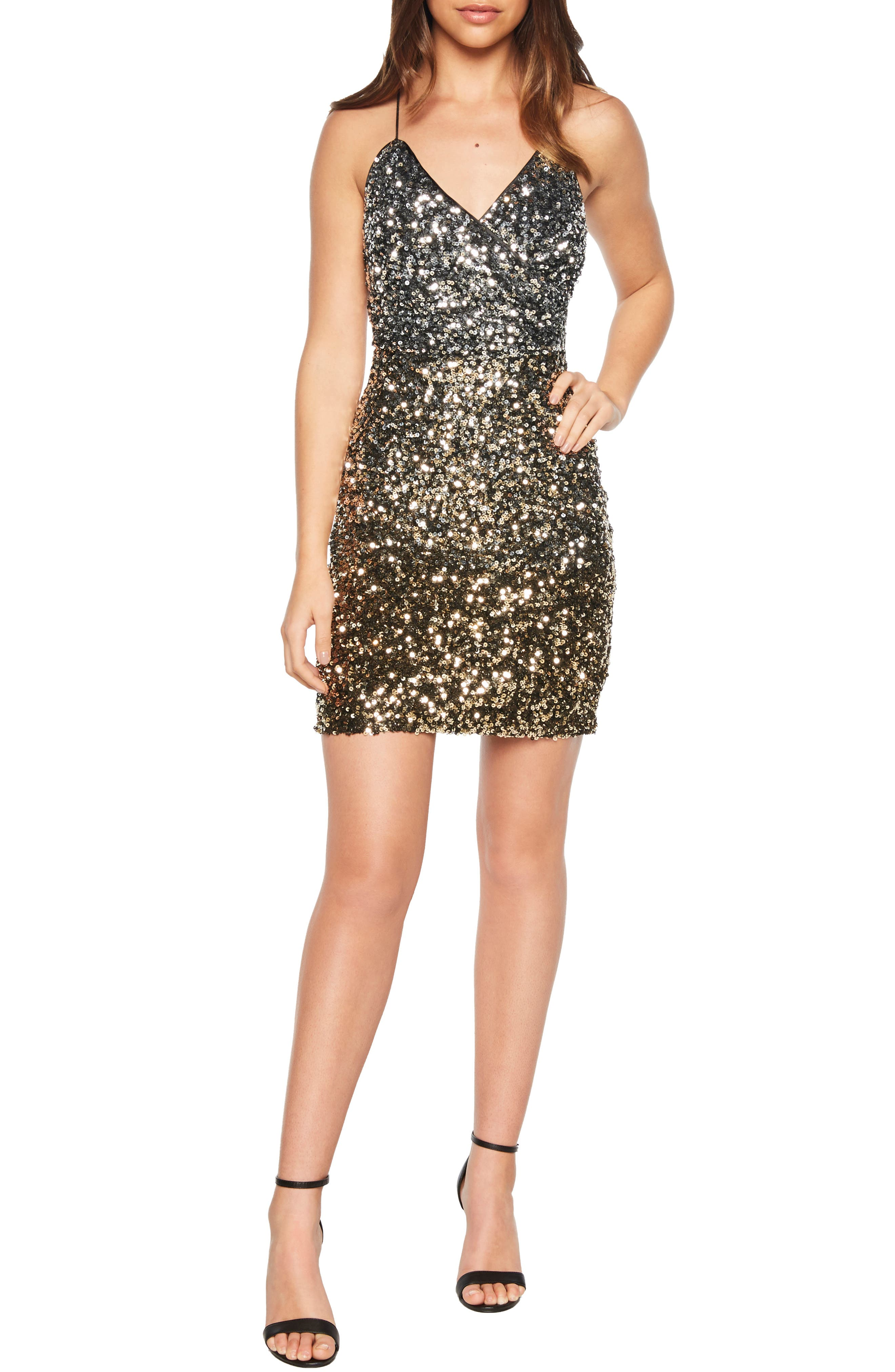 Glimmer Minidress,                             Main thumbnail 1, color,                             SILVER GOLD SEQUIN