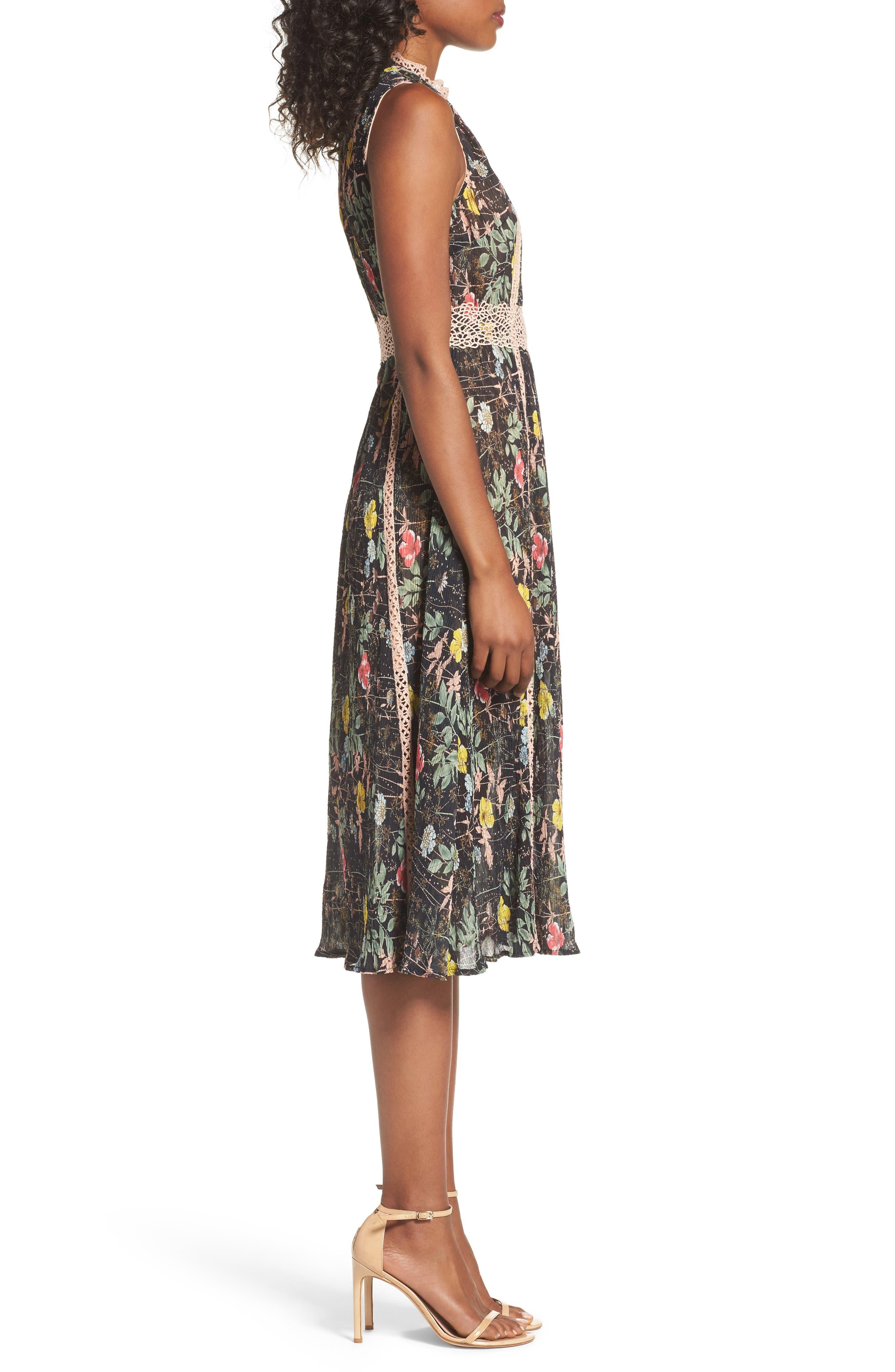 FOXIEDOX,                             Kinsey Print Gauze Midi Dress,                             Alternate thumbnail 3, color,                             009