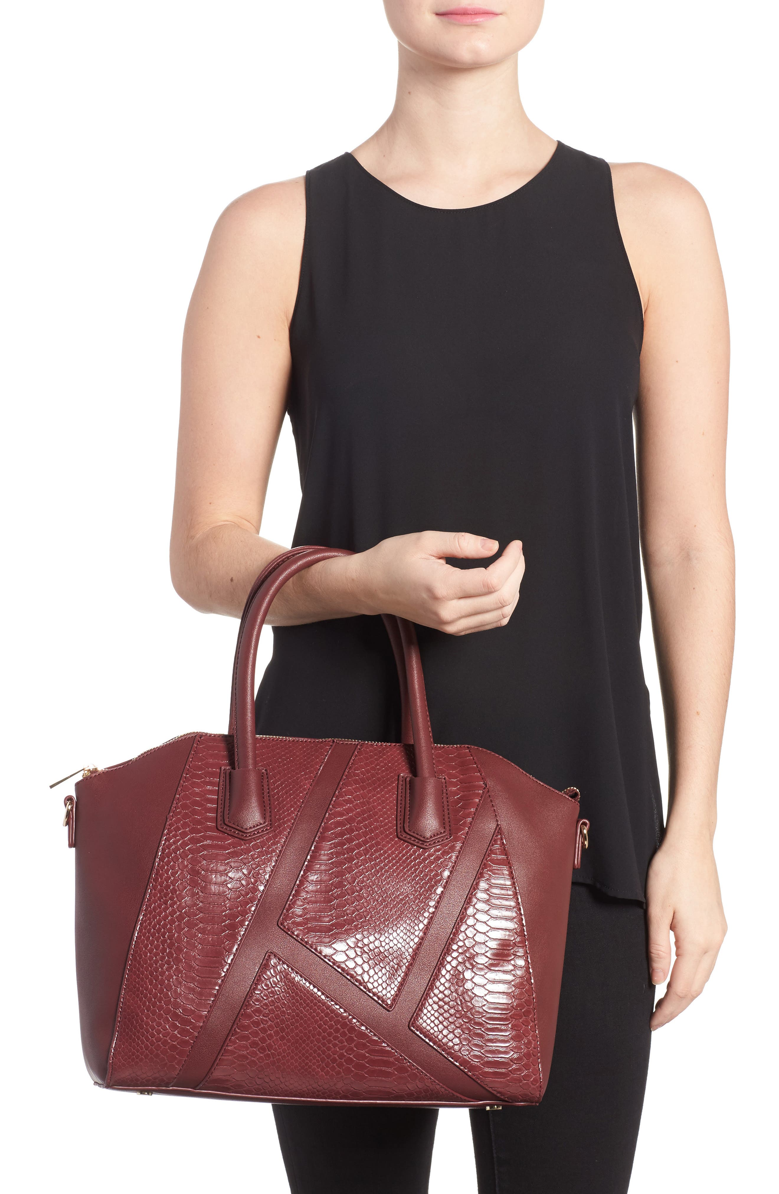 Chase Faux Leather Satchel,                             Alternate thumbnail 6, color,
