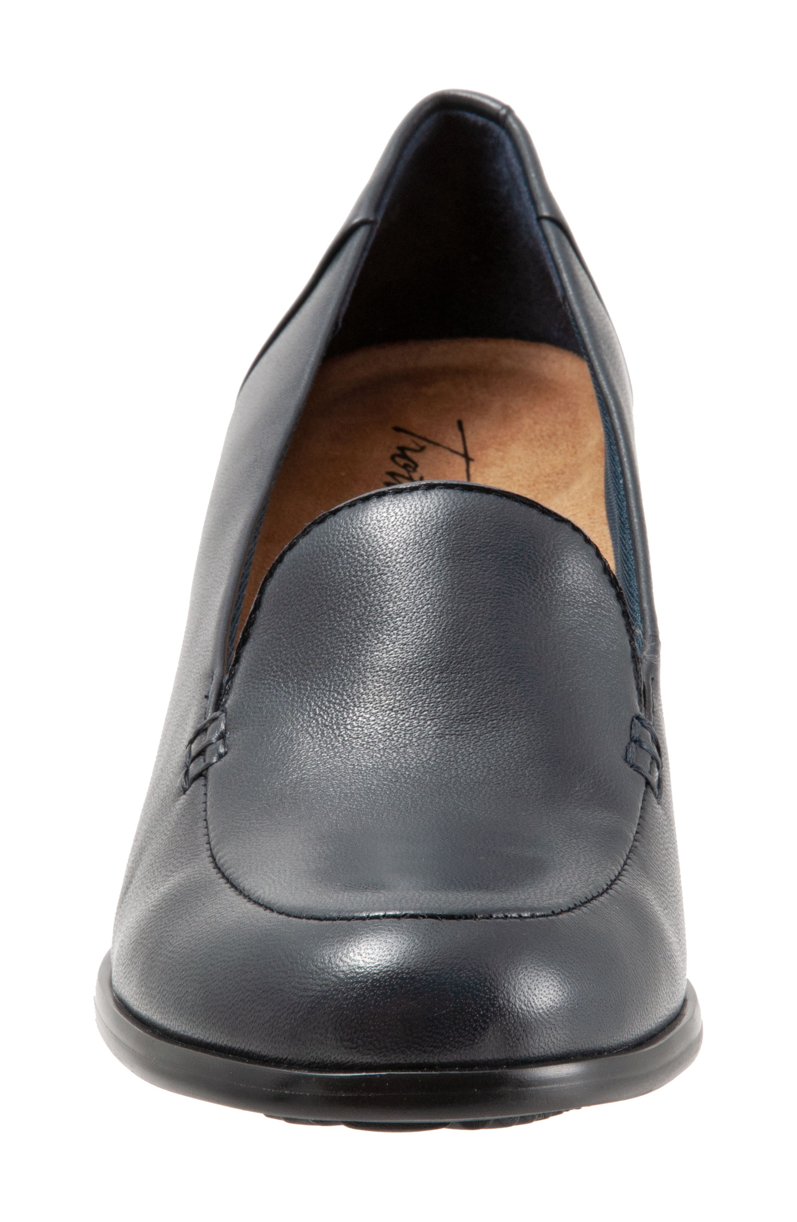 TROTTERS,                             Quincy Loafer Pump,                             Alternate thumbnail 4, color,                             NAVY LEATHER