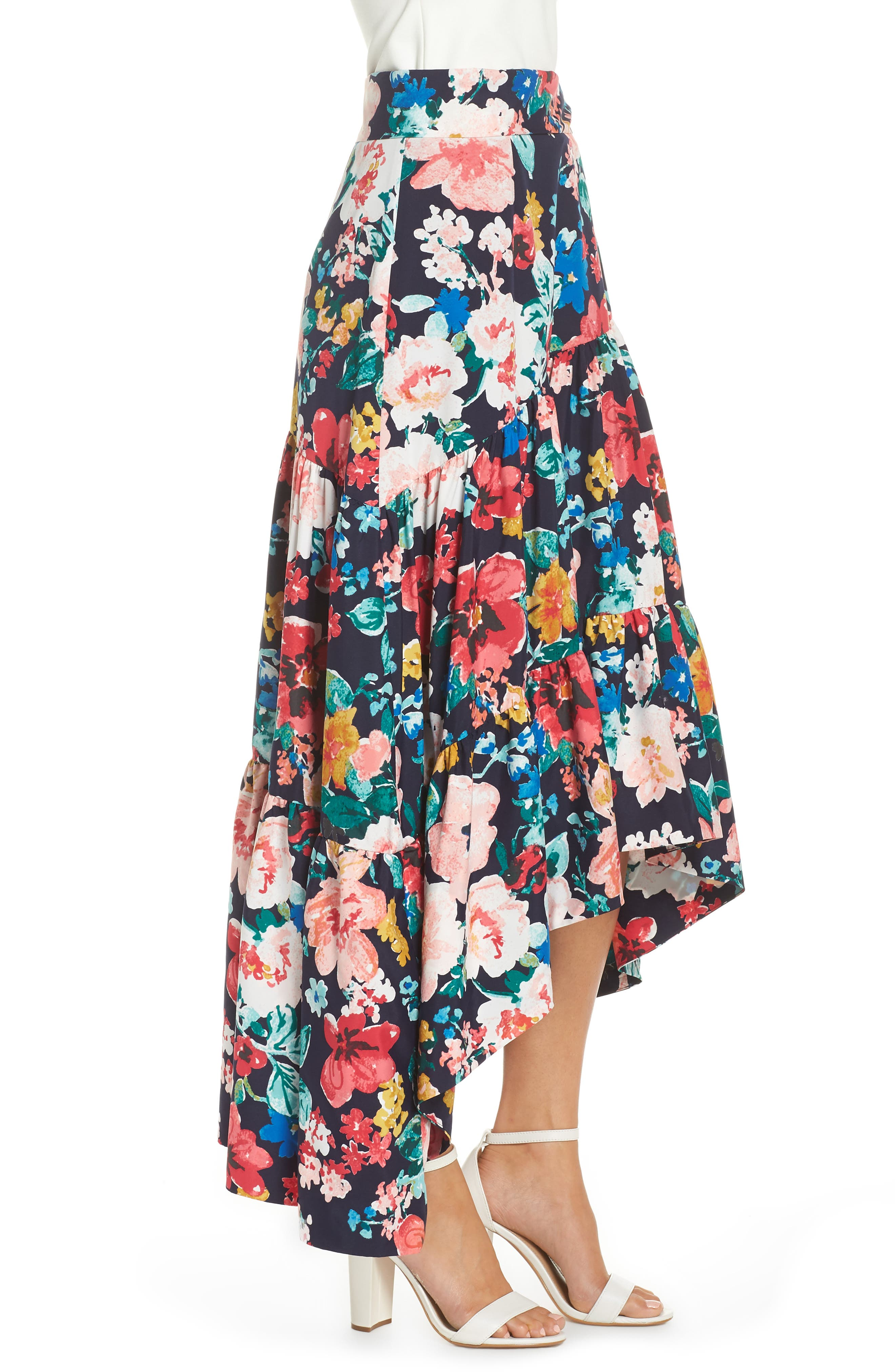 High/Low Tiered Skirt,                             Alternate thumbnail 3, color,                             NAVY