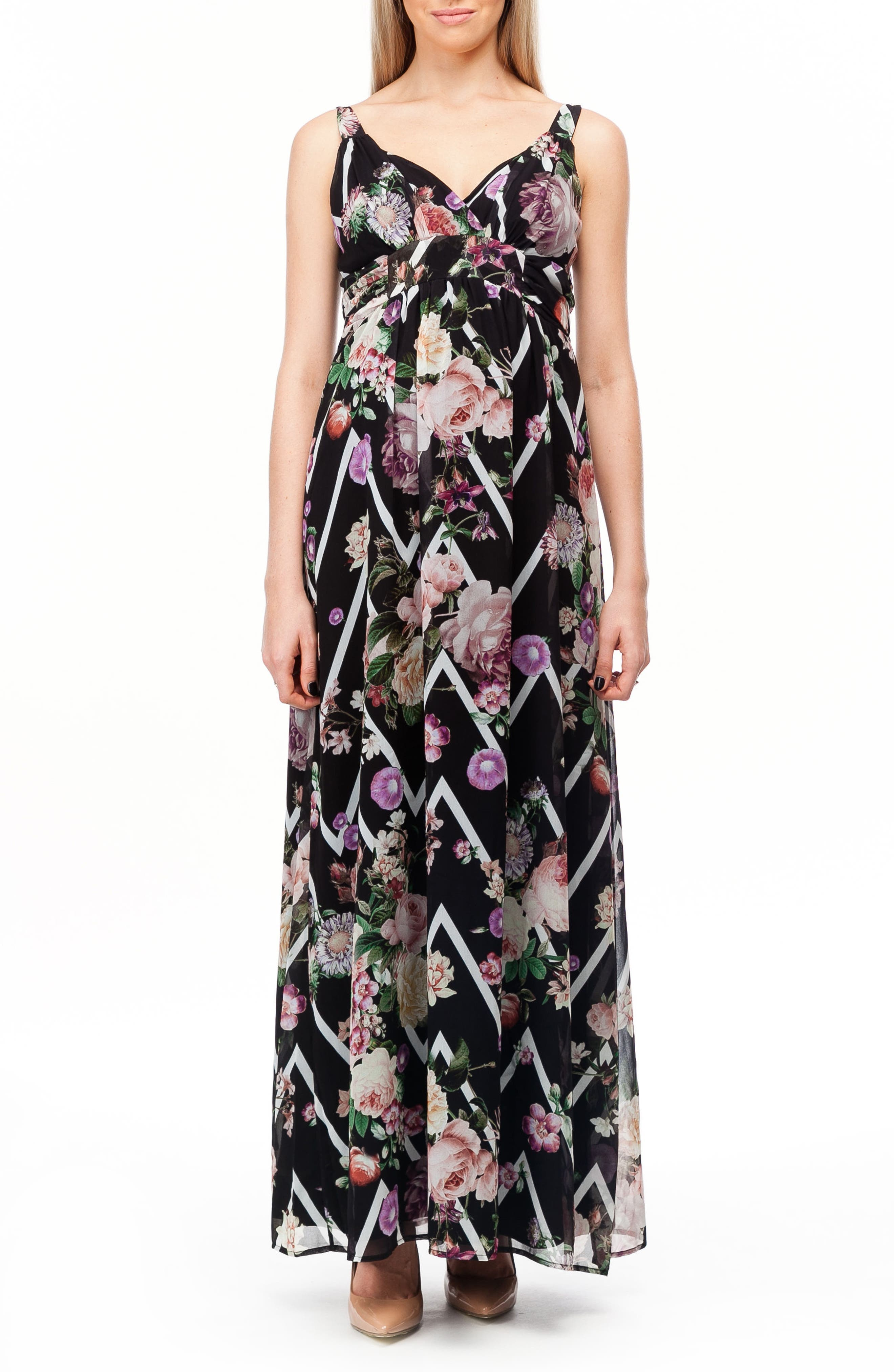 Murano Maternity Maxi Dress,                             Alternate thumbnail 2, color,                             FLOWER ZIGZAG