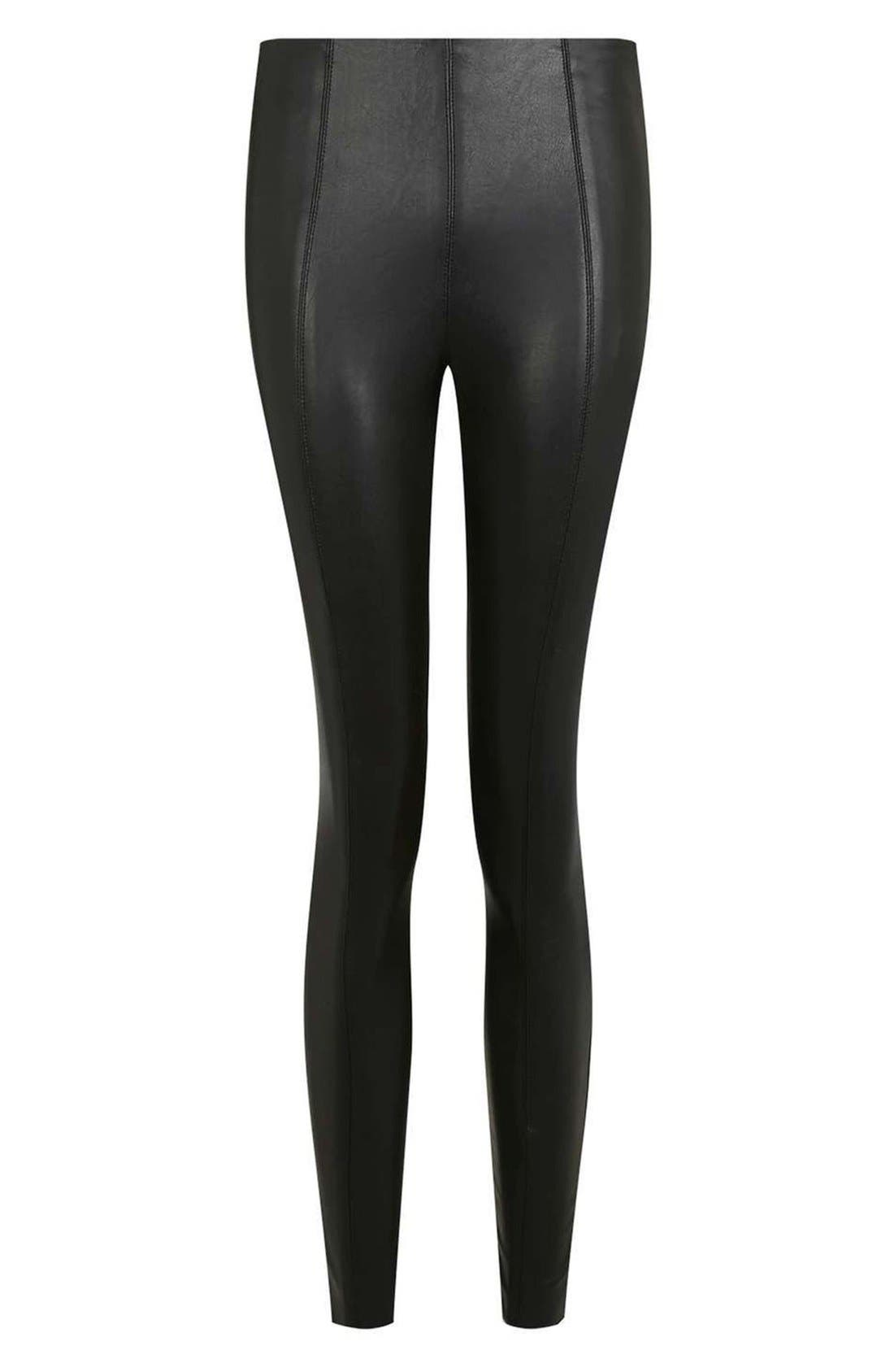 Percy Faux Leather Skinny Pants,                             Alternate thumbnail 6, color,                             001