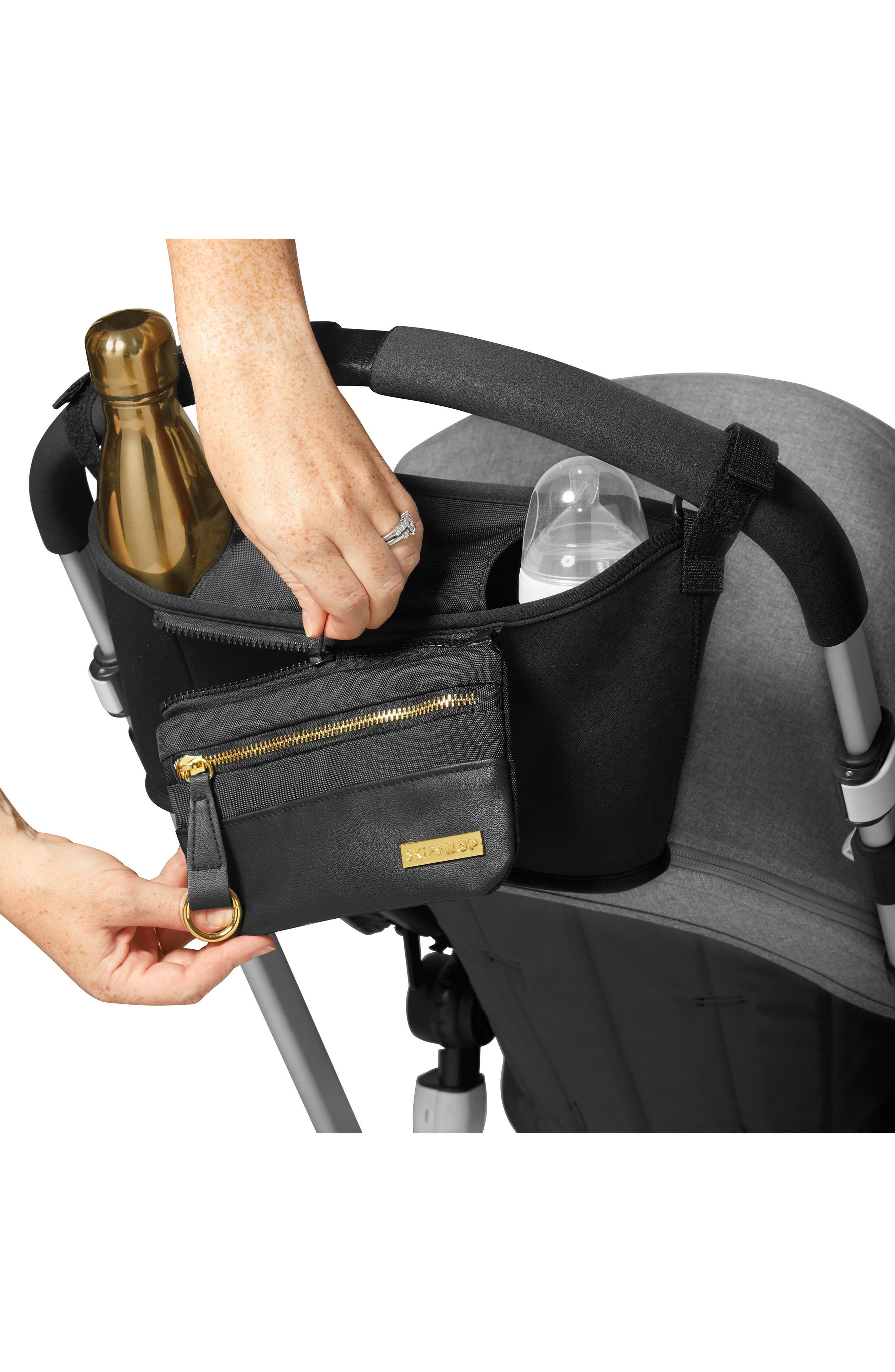 Grab & Go Luxe Stroller Organizer,                             Alternate thumbnail 4, color,                             BLACK