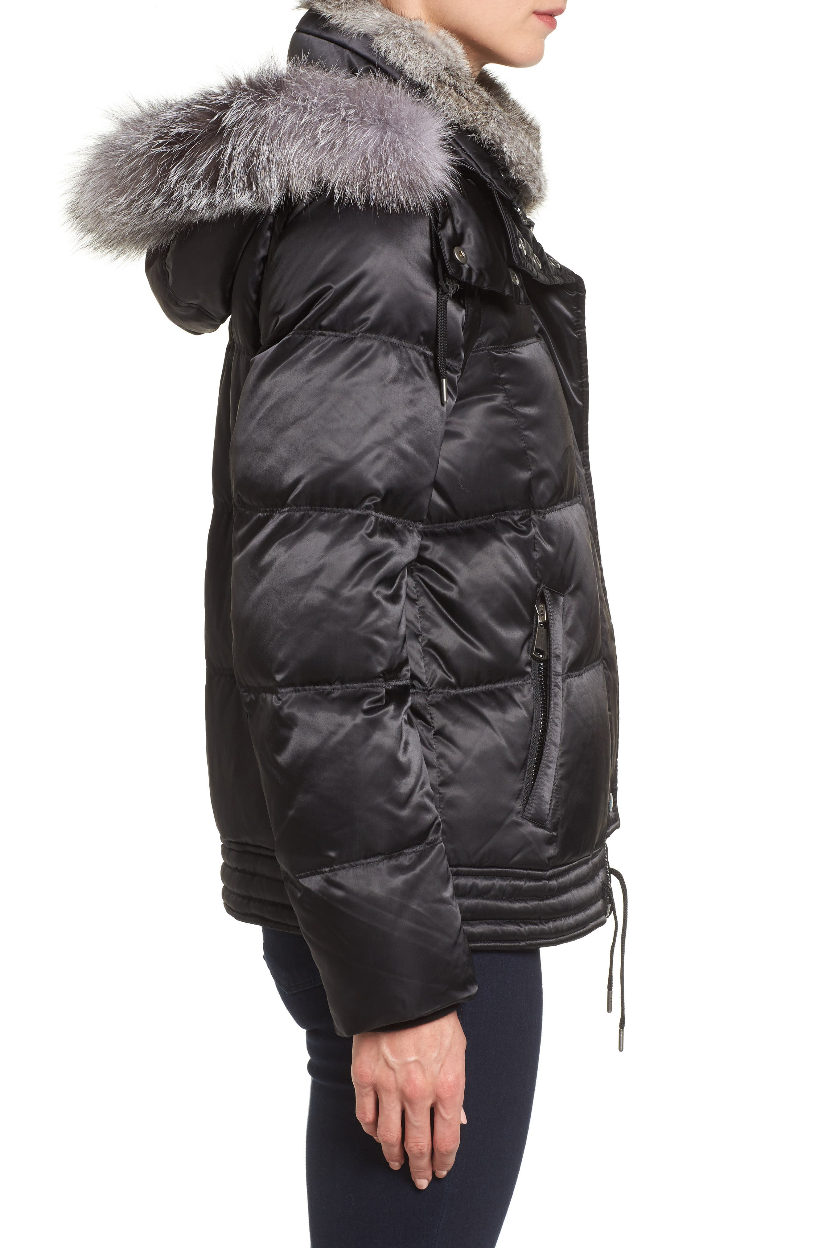 Convertible Down Coat with Genuine Rabbit Fur & Genuine Fox Fur,                             Alternate thumbnail 3, color,                             001