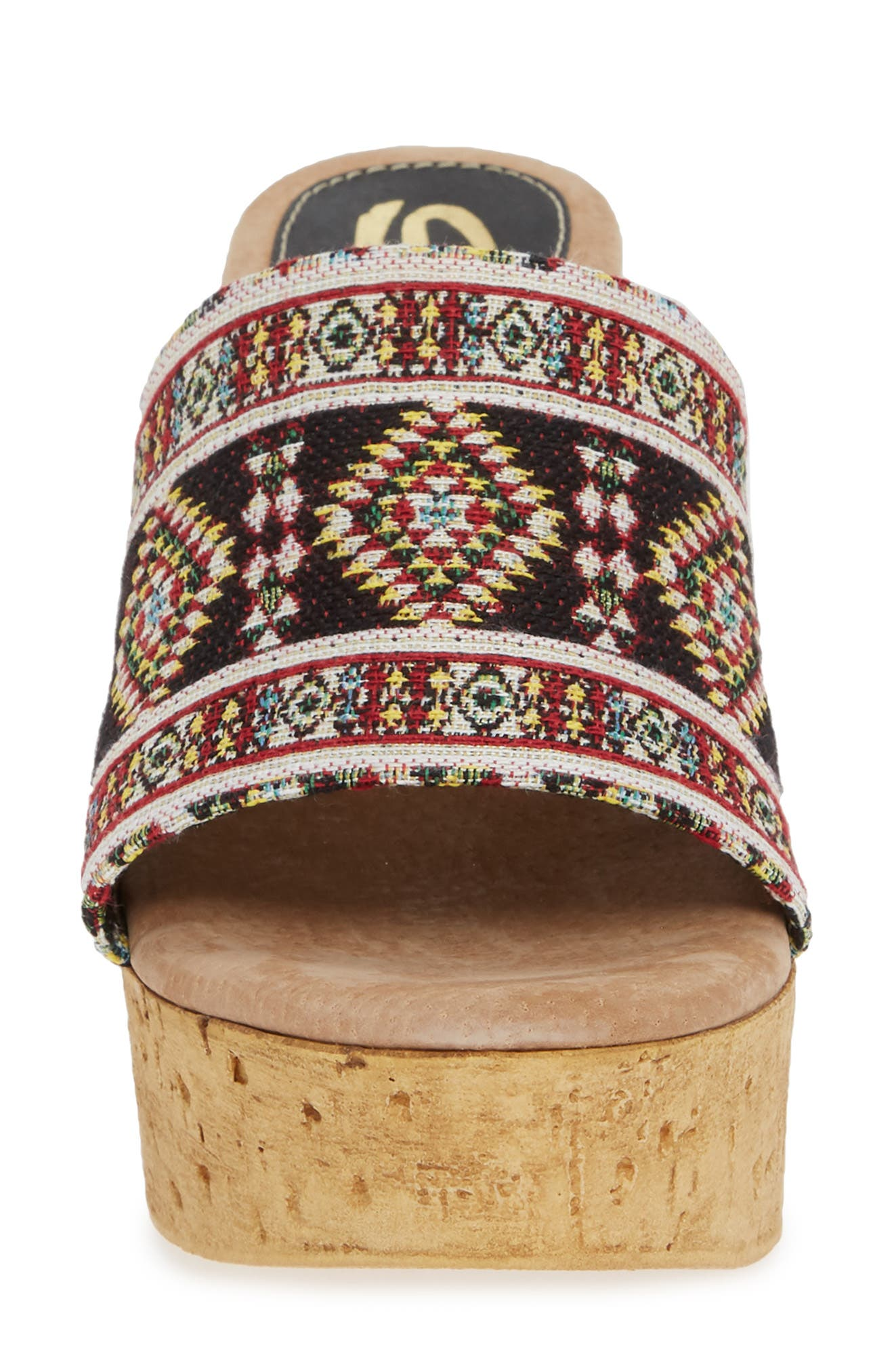 Orabela Platform Wedge Sandal,                             Alternate thumbnail 4, color,                             BLACK MULTICOLOR FABRIC