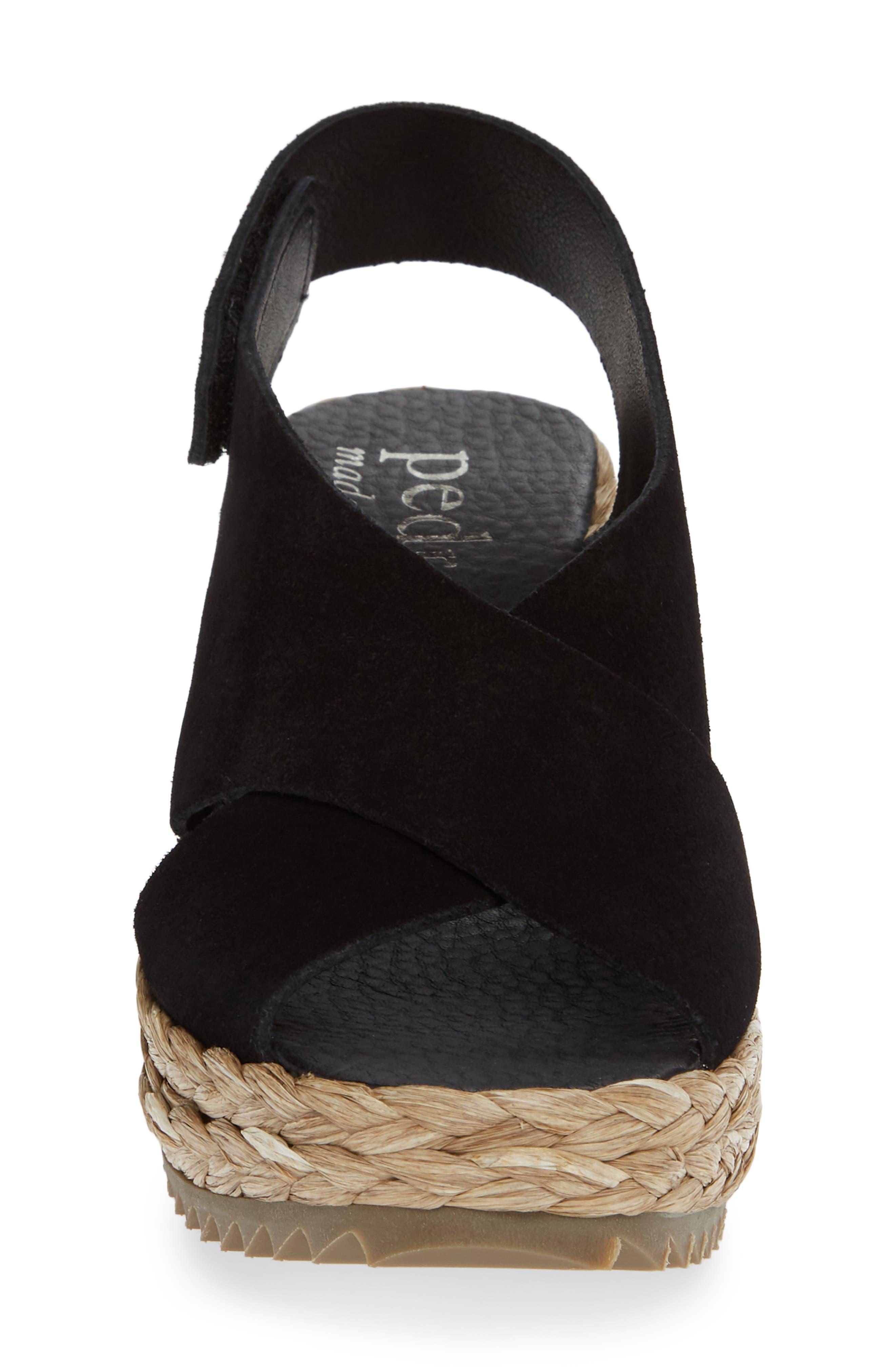 'Federica' Wedge Sandal,                             Alternate thumbnail 4, color,                             BLACK CASTORO/ RAFFIA