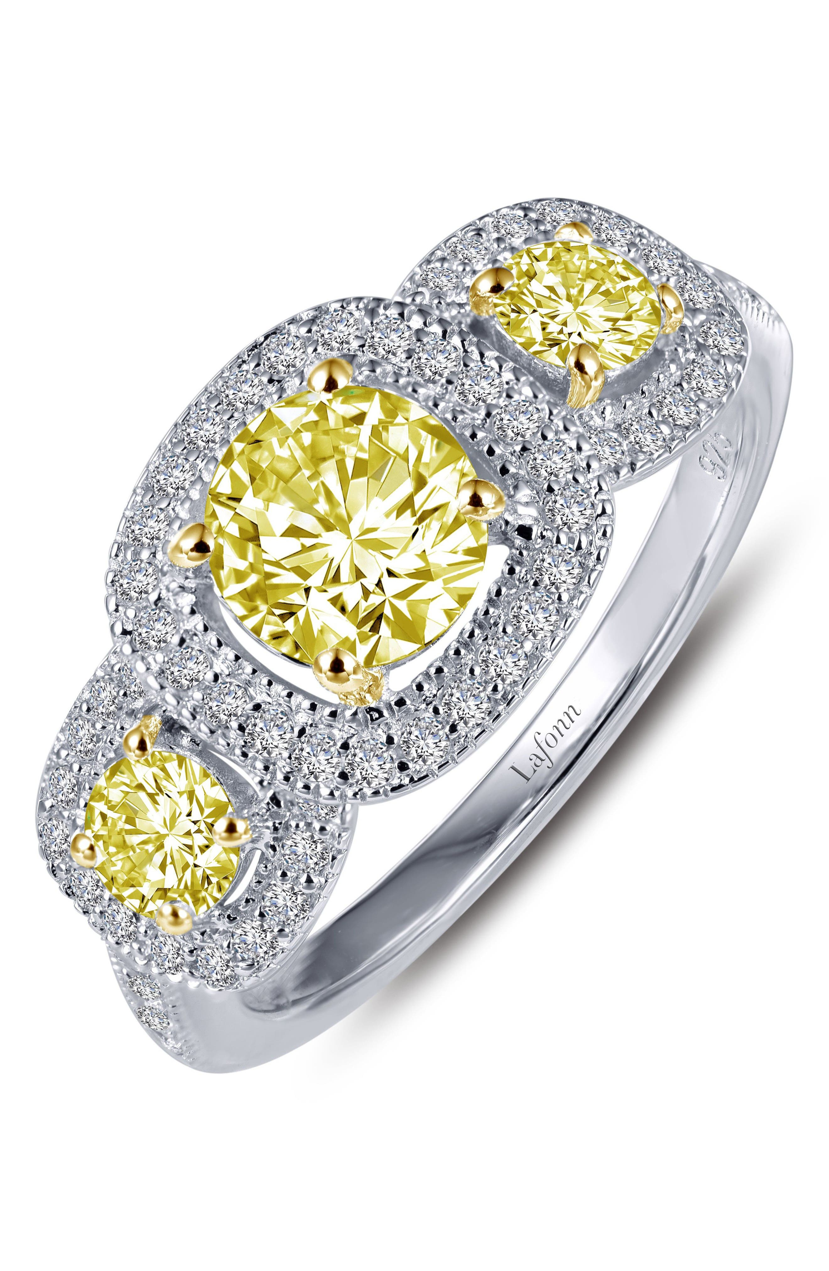 Simulated Diamond Halo Ring,                         Main,                         color, SILVER/ CANARY/ CLEAR