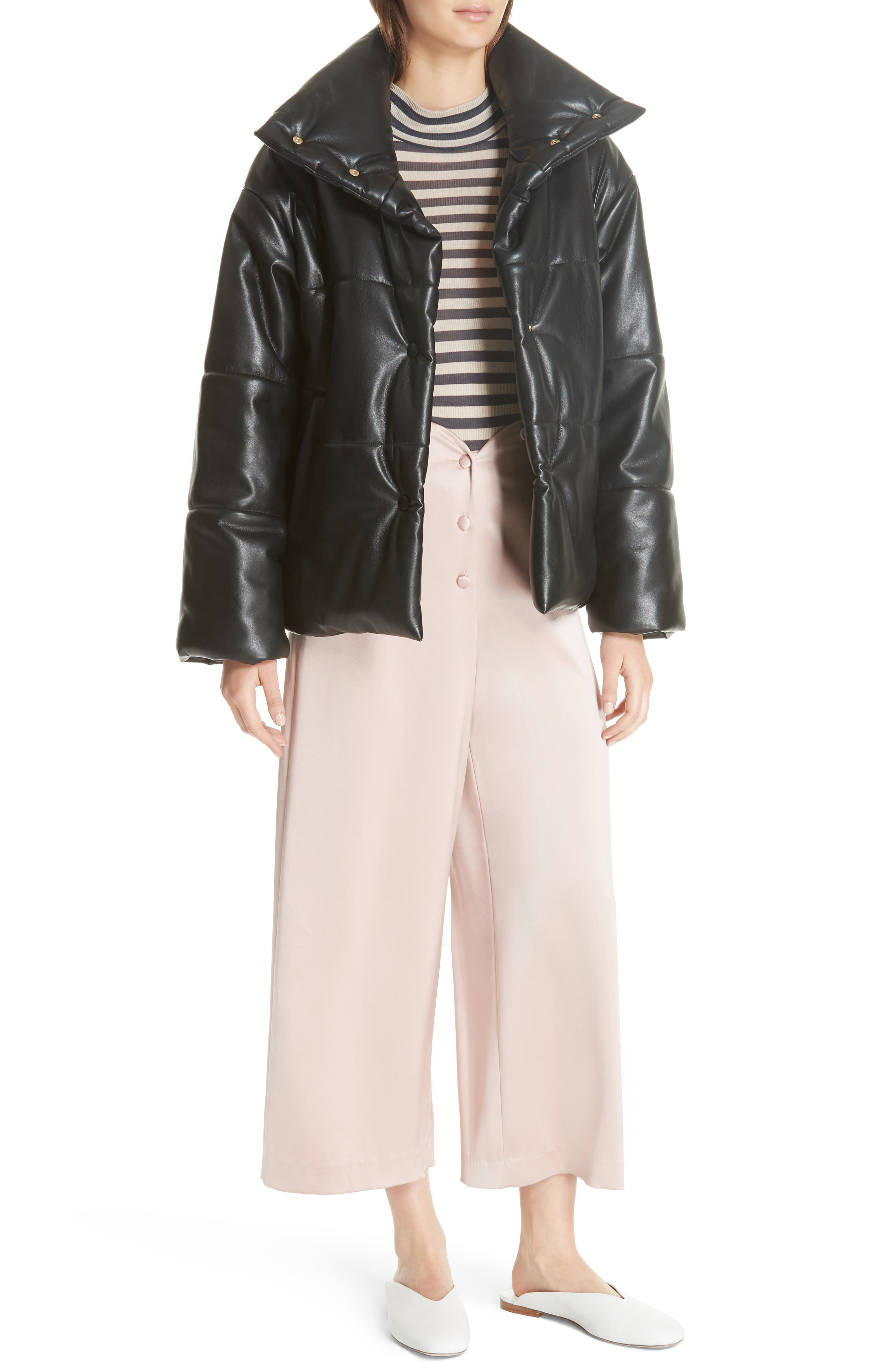 Hide Faux Leather Puffer Jacket,                             Alternate thumbnail 7, color,                             BLACK
