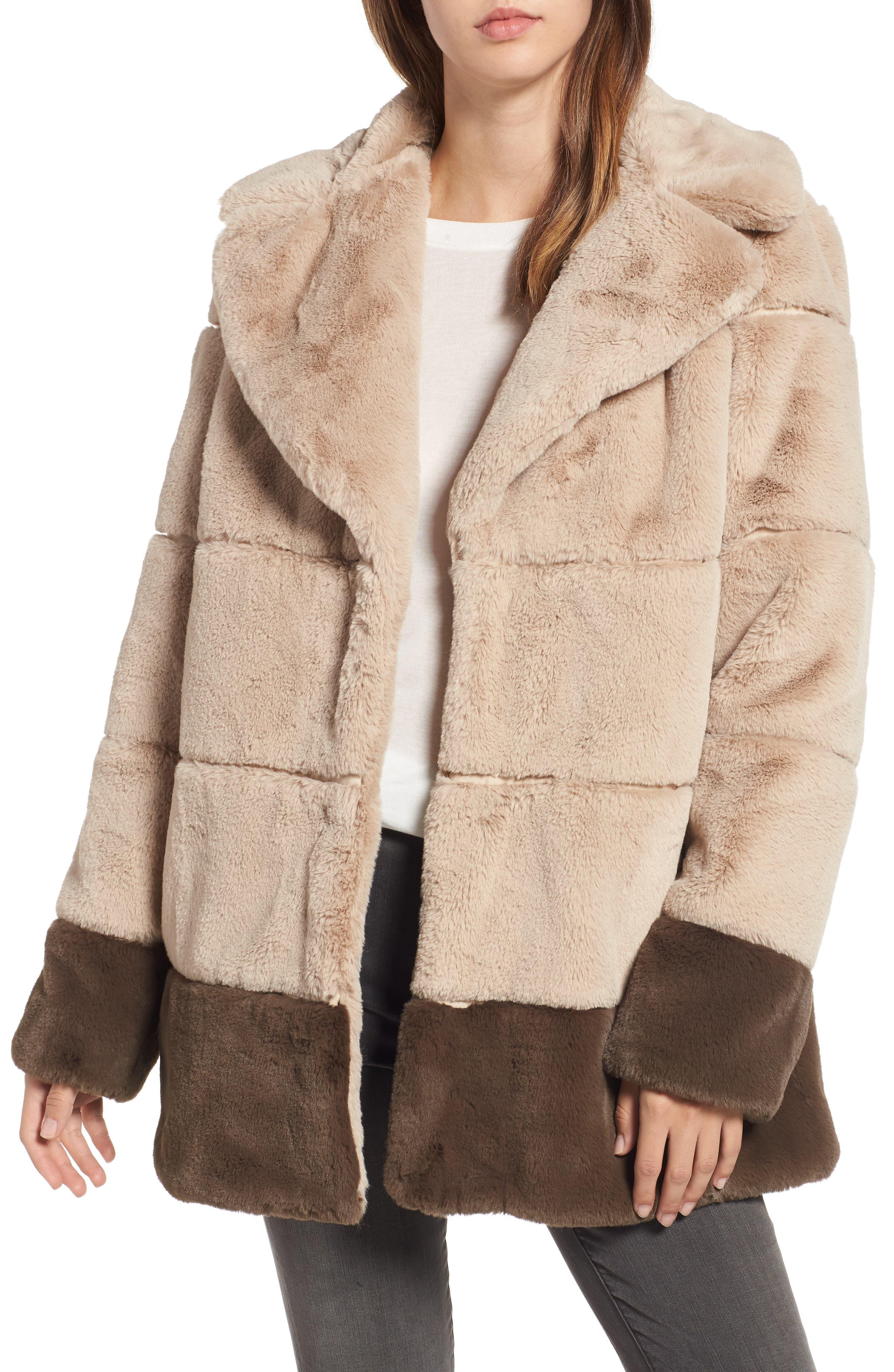 Colorblock Panel Faux Fur Jacket,                             Main thumbnail 1, color,                             BEIGE/ BROWN