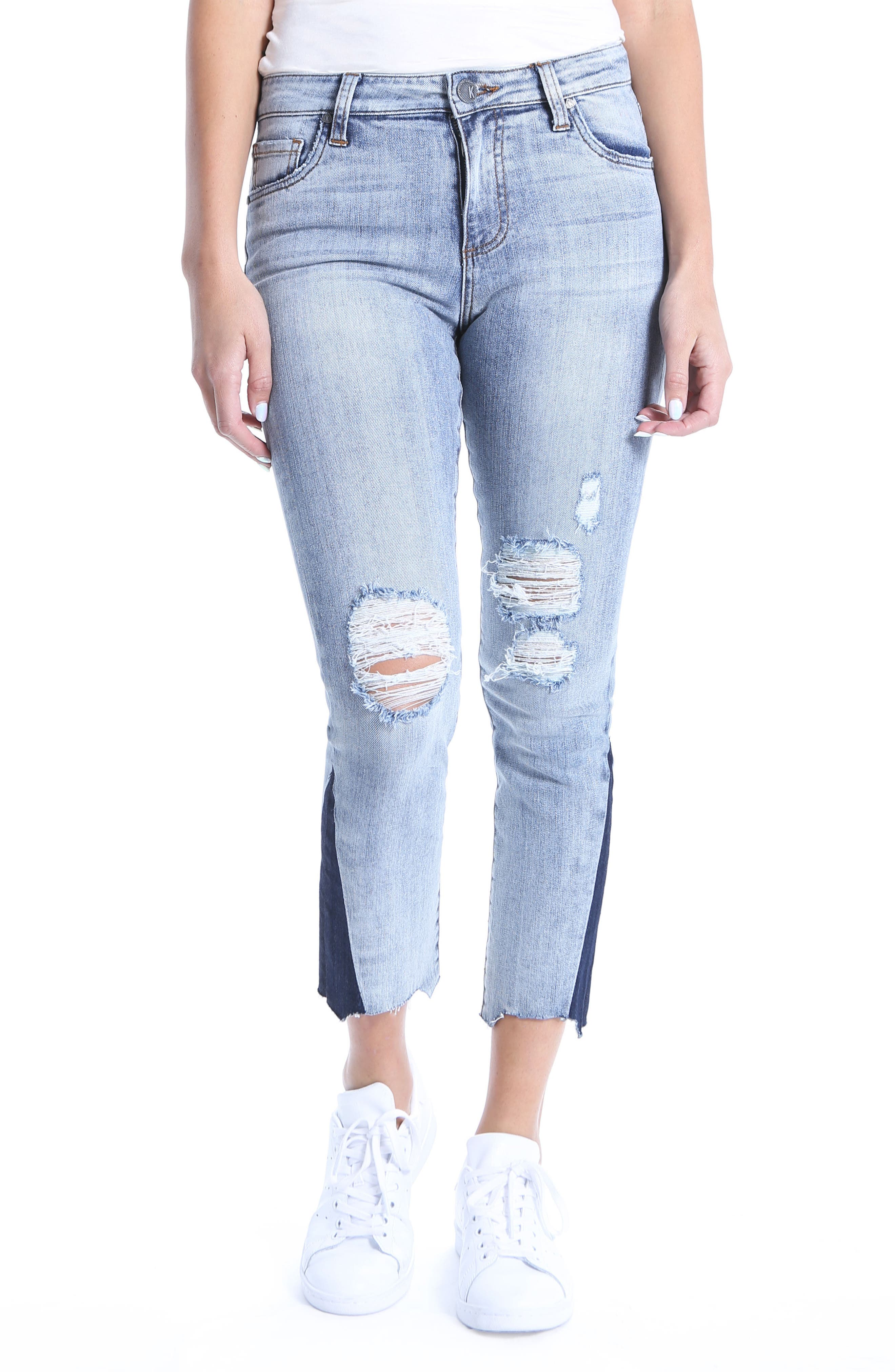 Reese Dark Flare Inset Straight Leg Ankle Jeans,                             Main thumbnail 1, color,                             400
