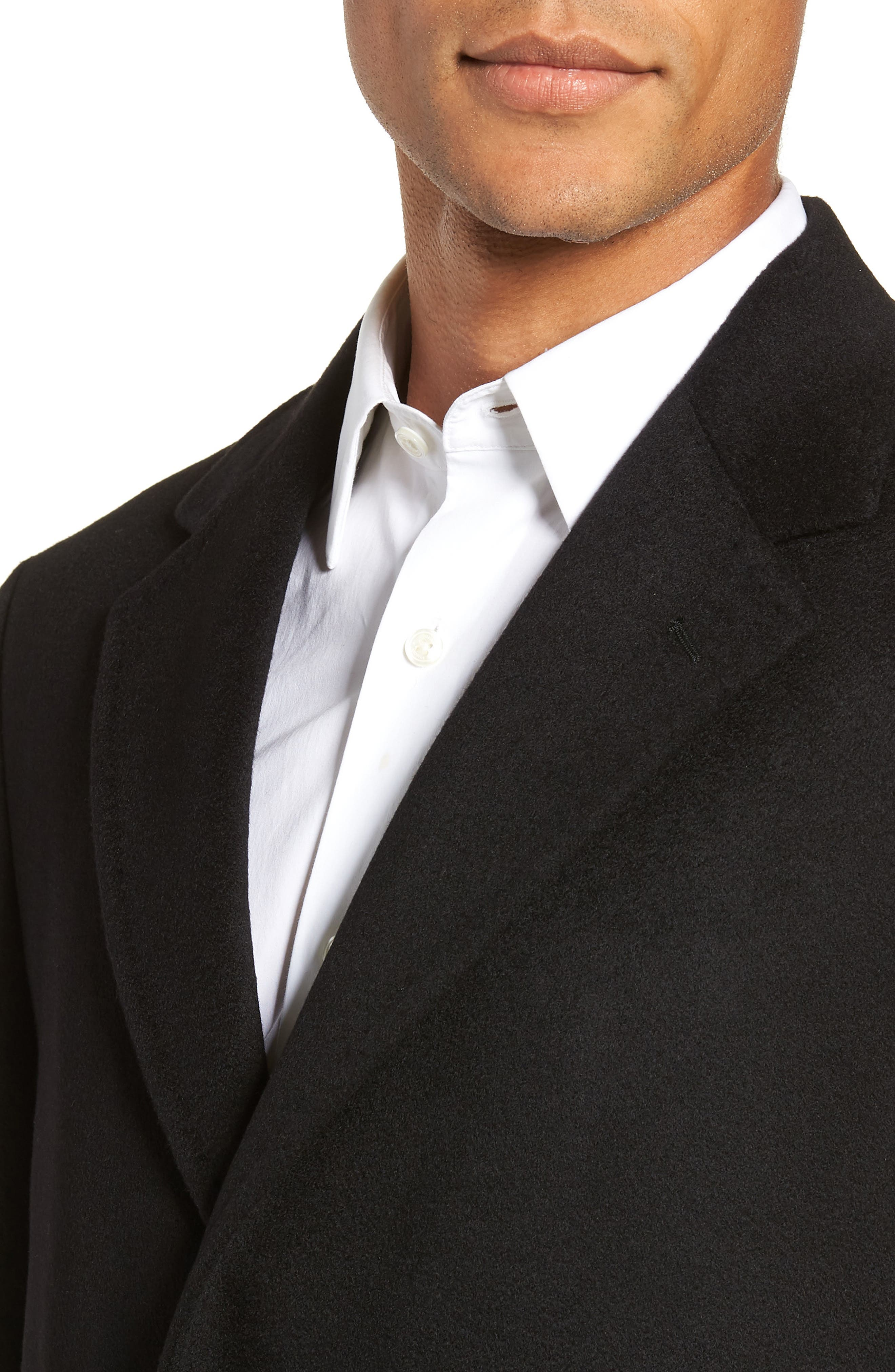 Darien Solid Cashmere Overcoat,                             Alternate thumbnail 4, color,                             BLACK