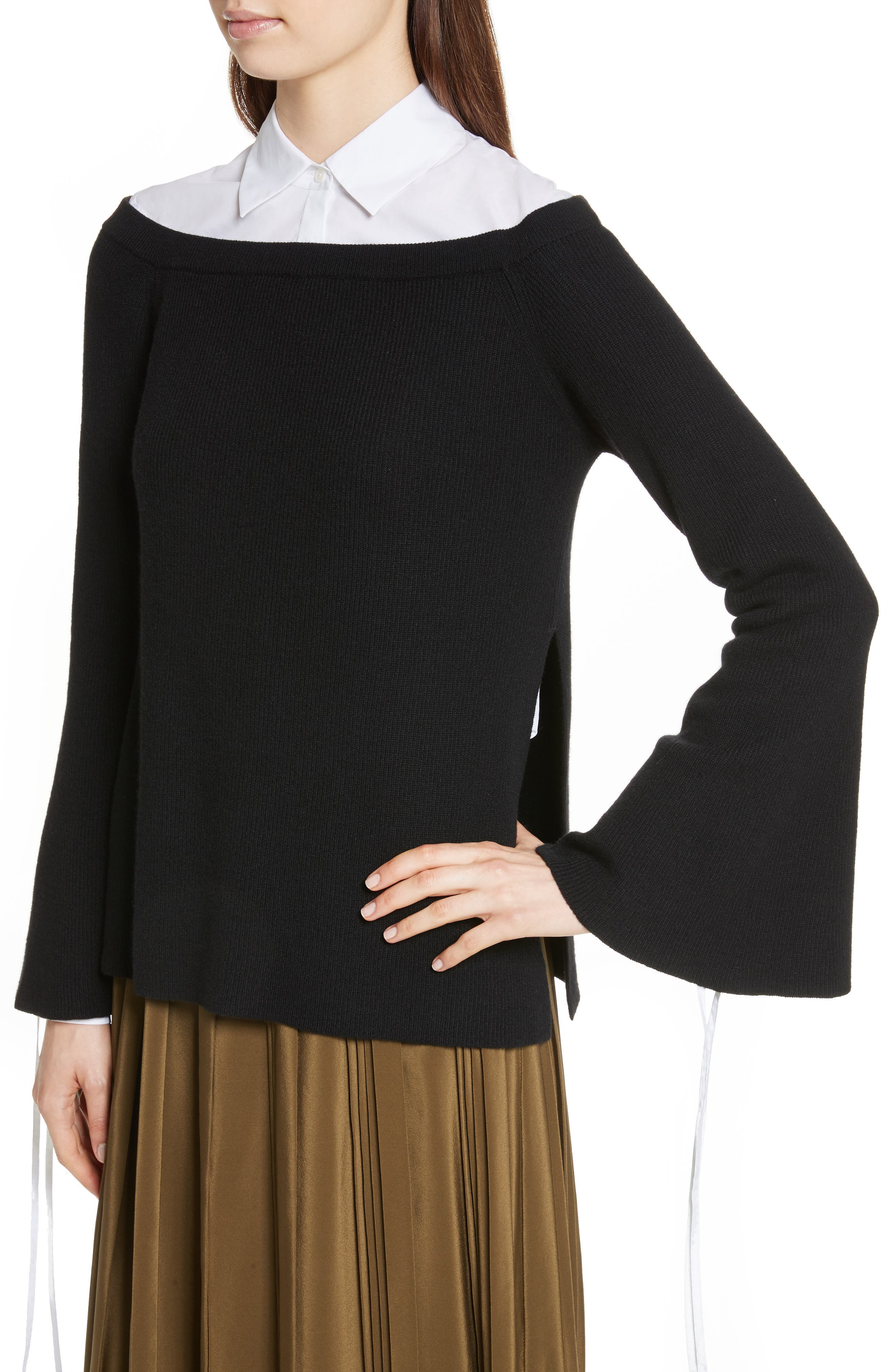 Off the Shoulder Wool & Cashmere Sweater,                             Alternate thumbnail 4, color,                             001