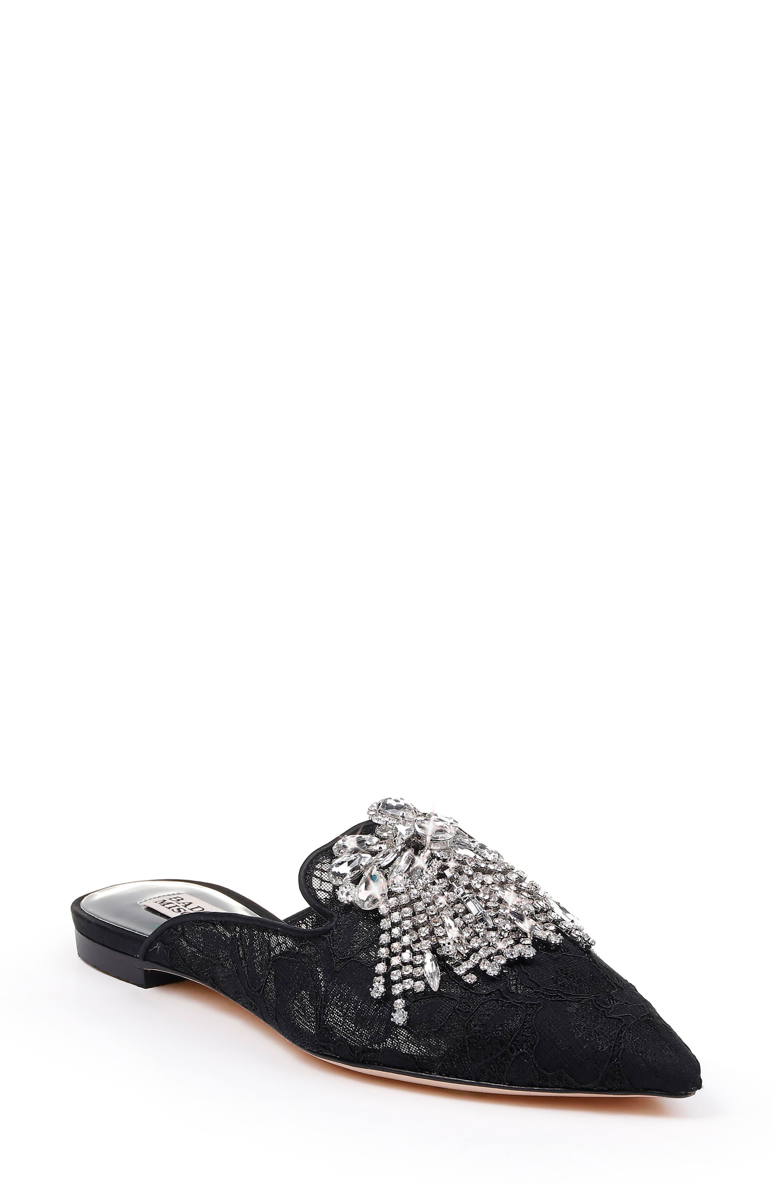 Badgley Mischka Farley Embellished Mule- Black