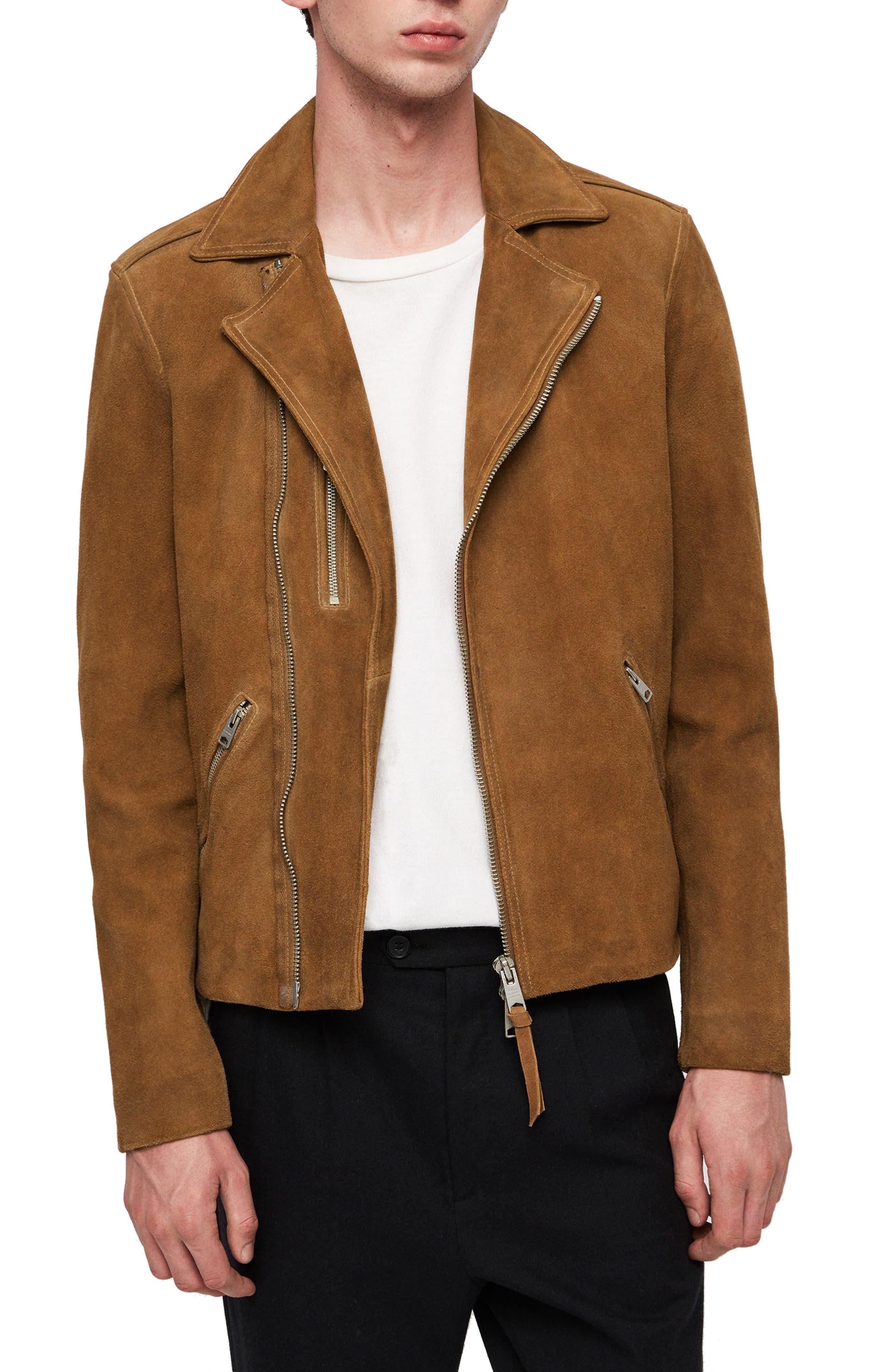 Judd Slim Fit Leather Biker Jacket, Main, color, 219