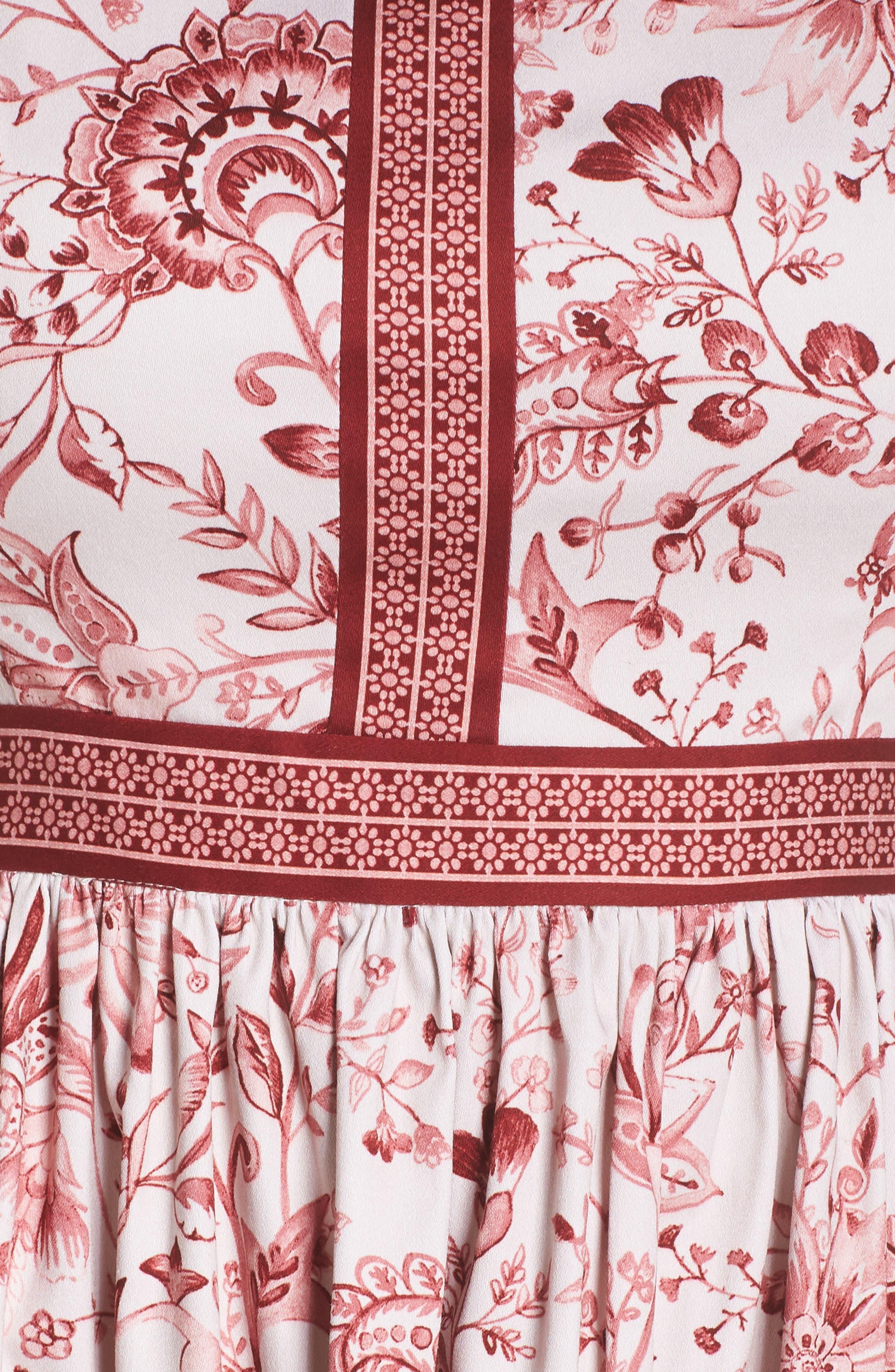 Esme Floral Fit & Flare Dress,                             Alternate thumbnail 6, color,                             690