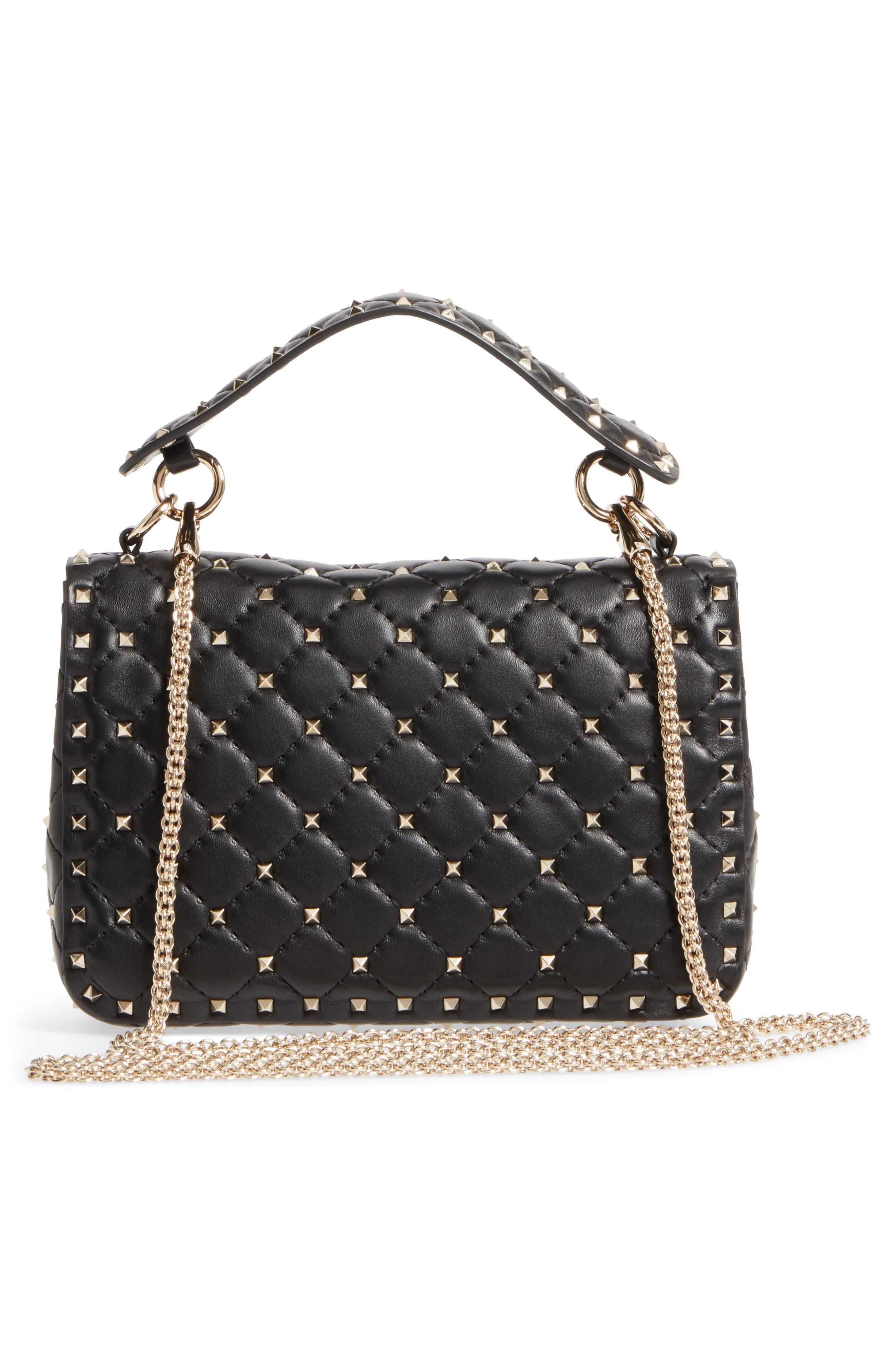 Medium Rockstud Matelassé Quilted Leather Shoulder Bag,                             Alternate thumbnail 3, color,                             BLACK