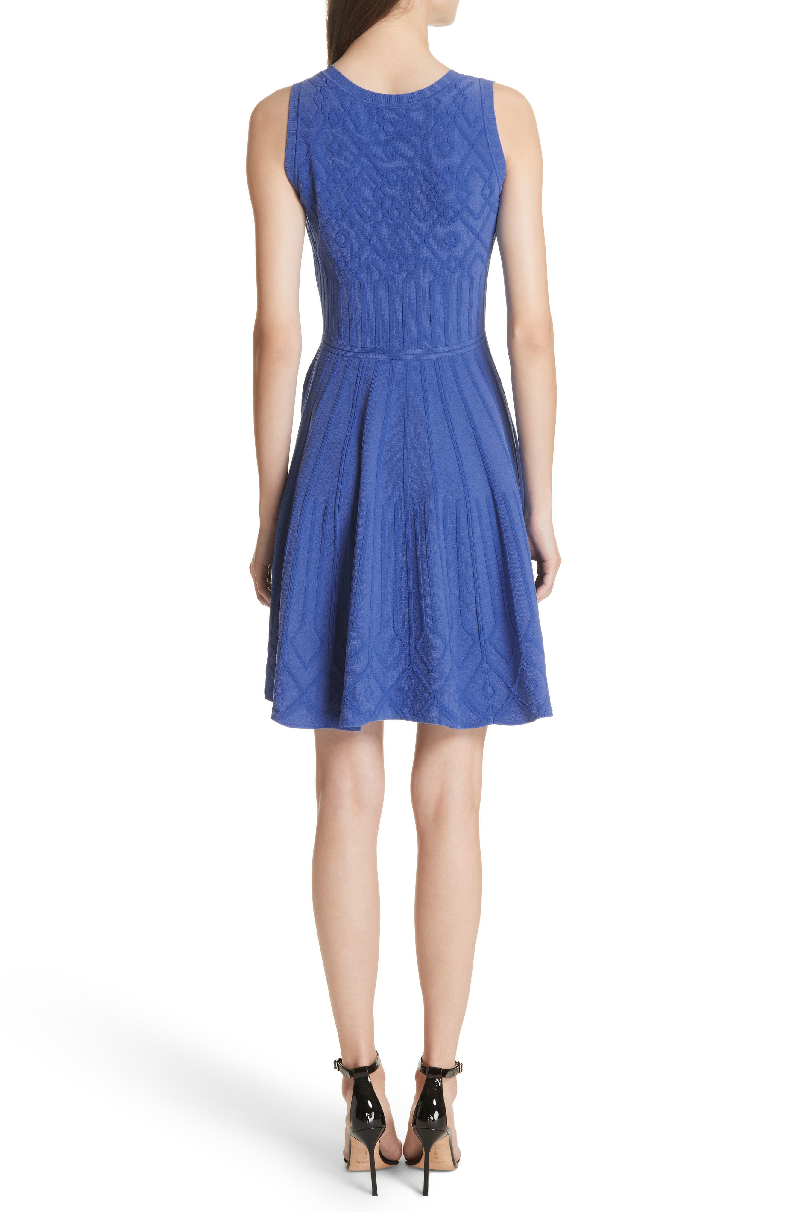 Mosaic Texture Knit Fit & Flare Dress,                             Alternate thumbnail 2, color,                             473