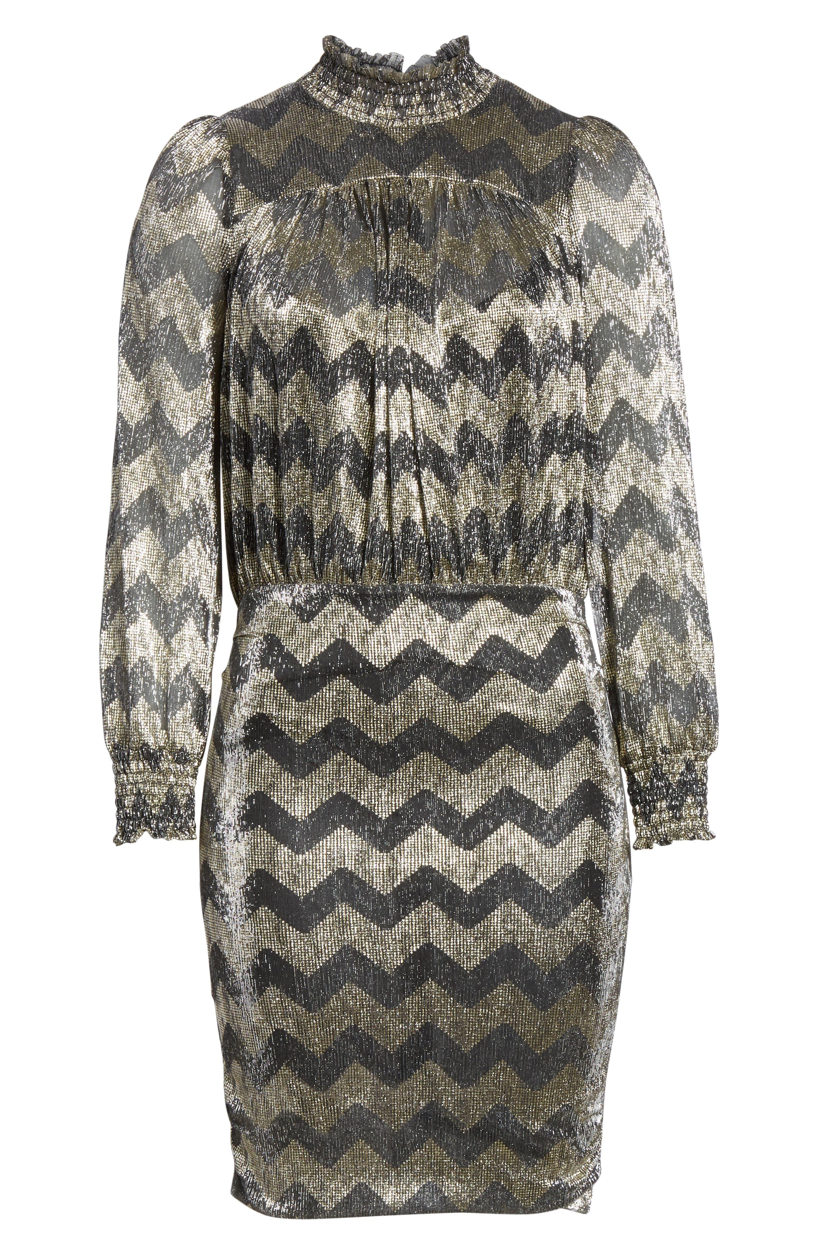 Goldy Zigzag Metallic Stripe Dress,                             Alternate thumbnail 6, color,                             ANTHRACITE
