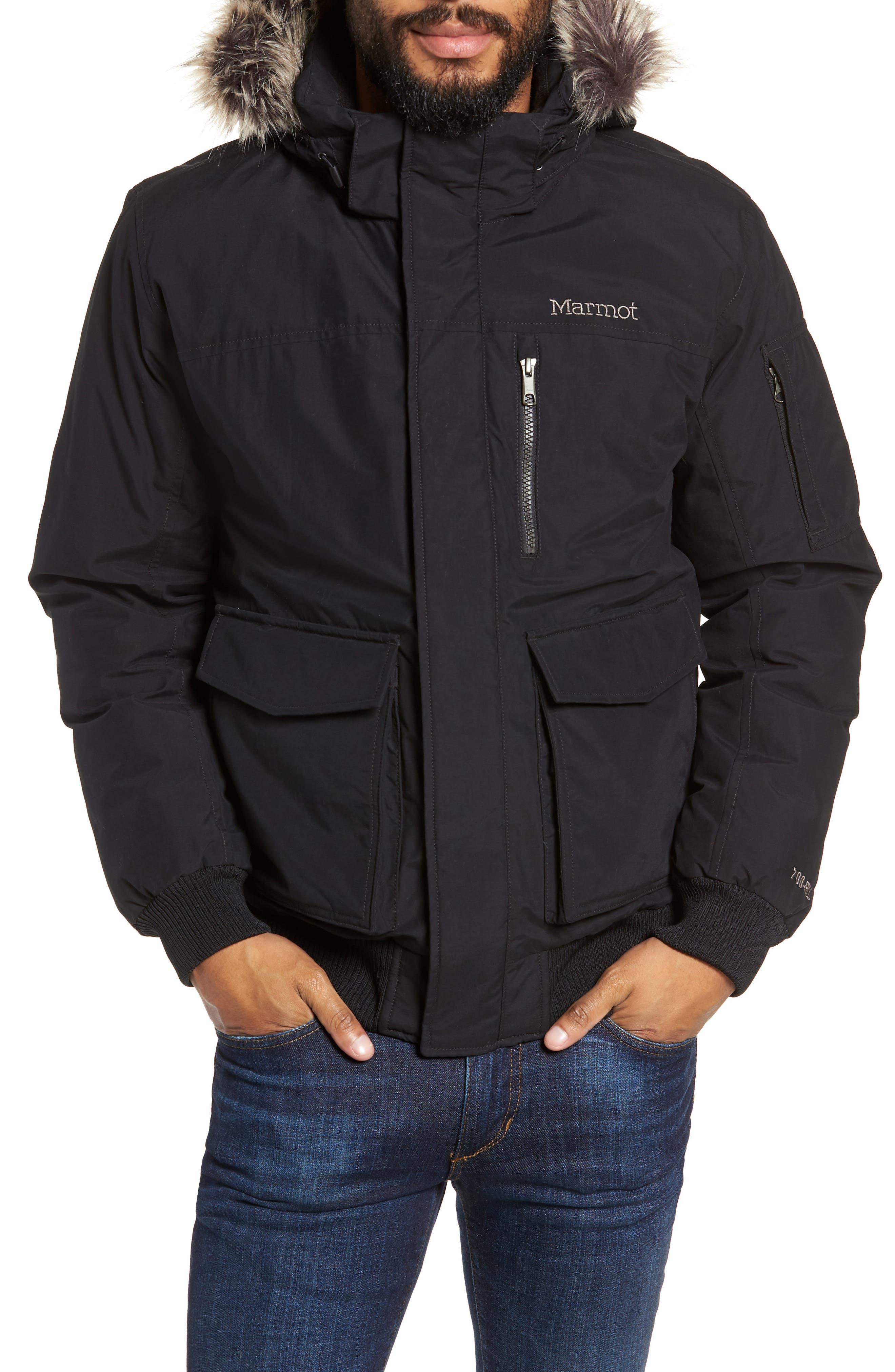 Marmot Stonehaven Waterproof 700 Fill Power Down Jacket With Faux Fur Trim, Black