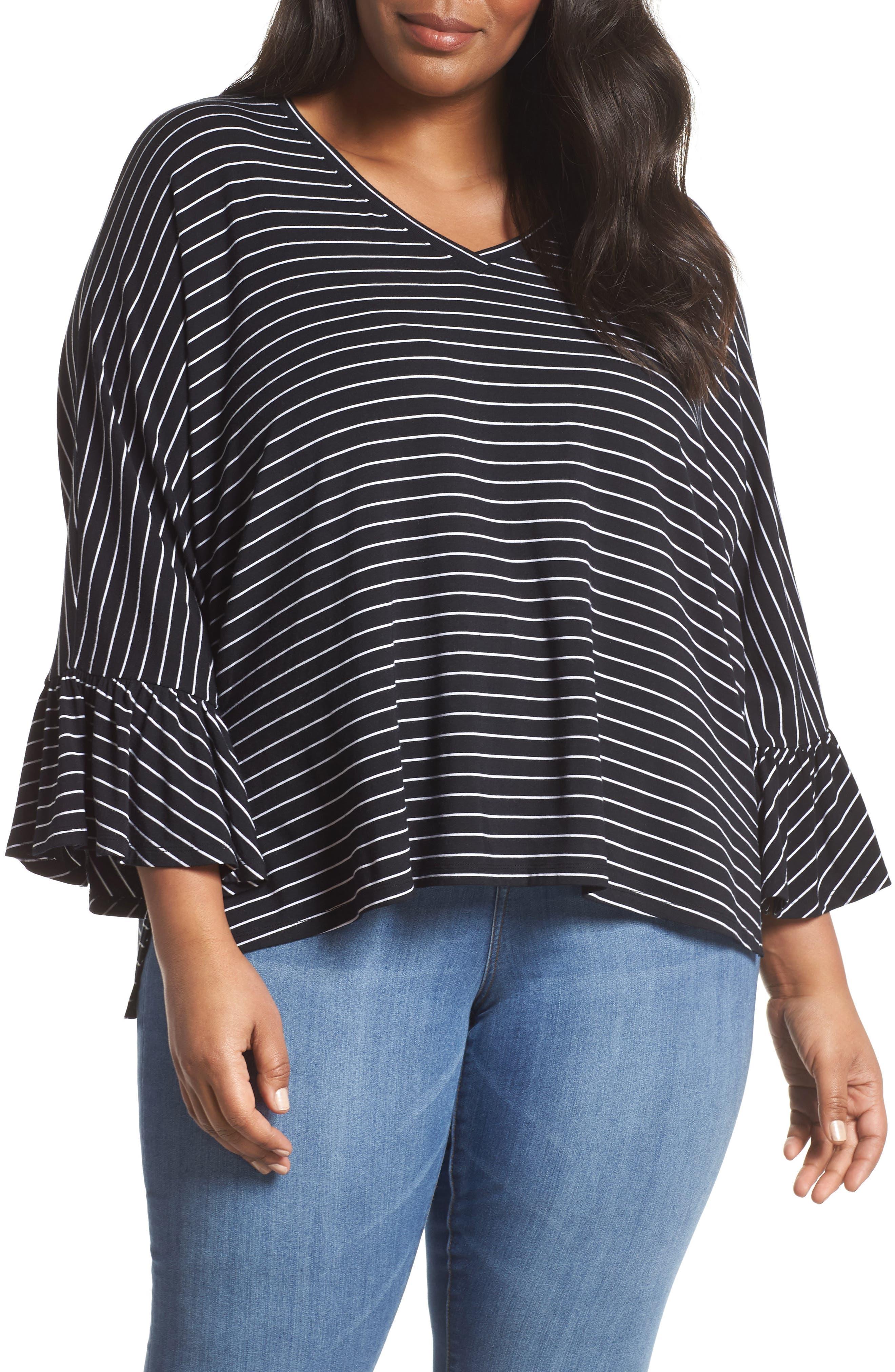Ruffle Sleeve Knit Top,                             Main thumbnail 1, color,                             BLACK/ WHITE STRIPE
