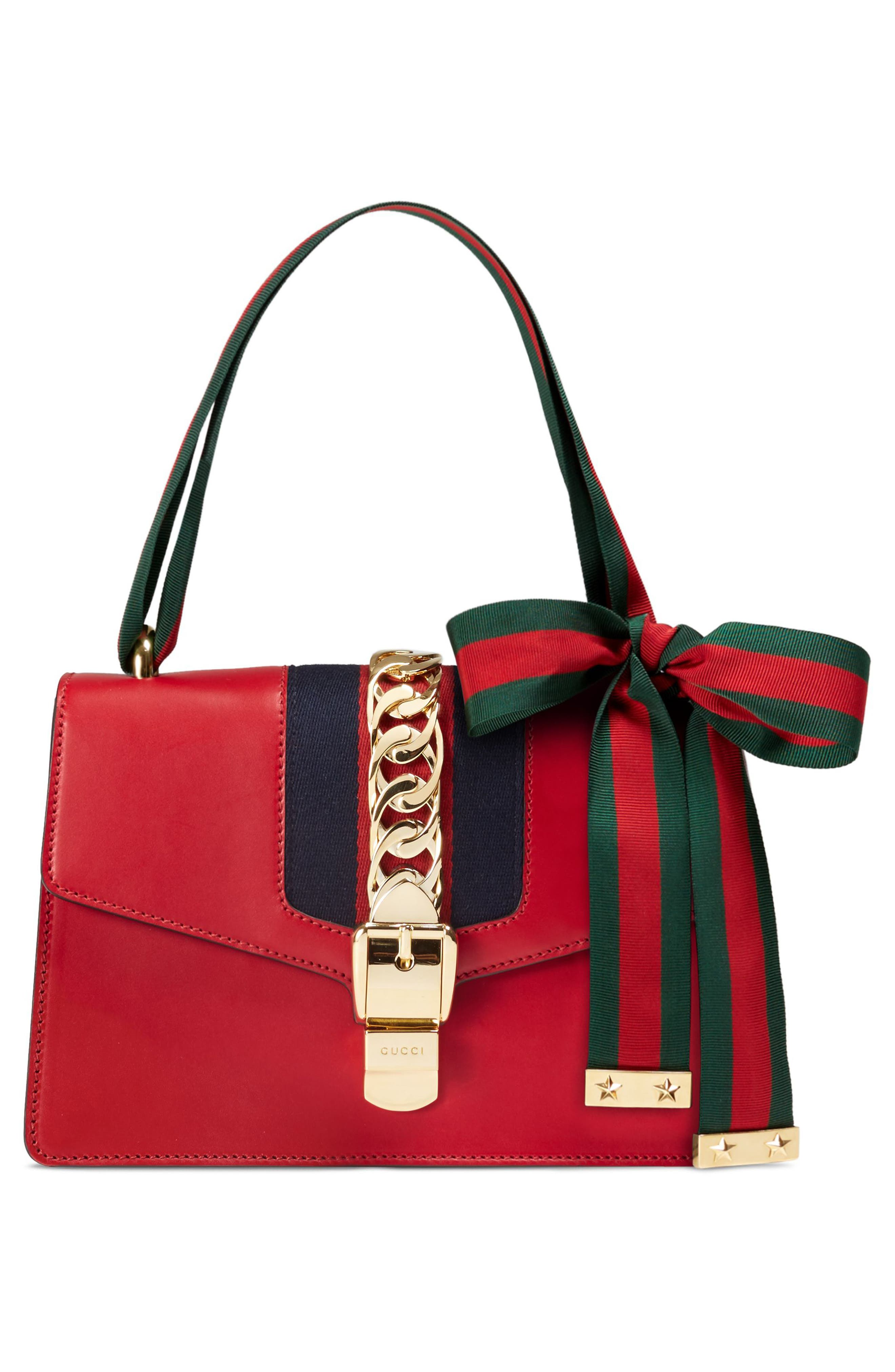 Small Sylvie Leather Shoulder Bag,                             Alternate thumbnail 4, color,                             HIBISCUS RED/ BLUE/ RED