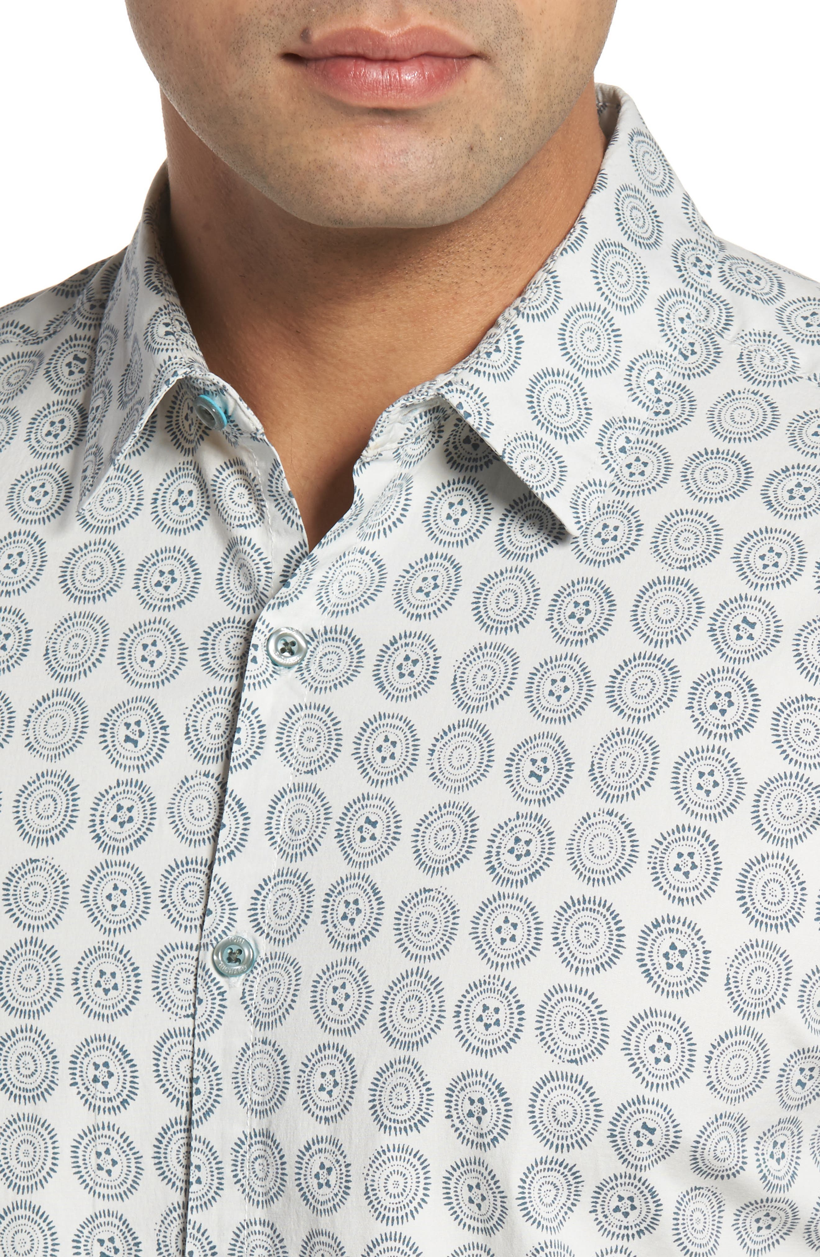 Sea Crest Slim Fit Print Camp Shirt,                             Alternate thumbnail 8, color,