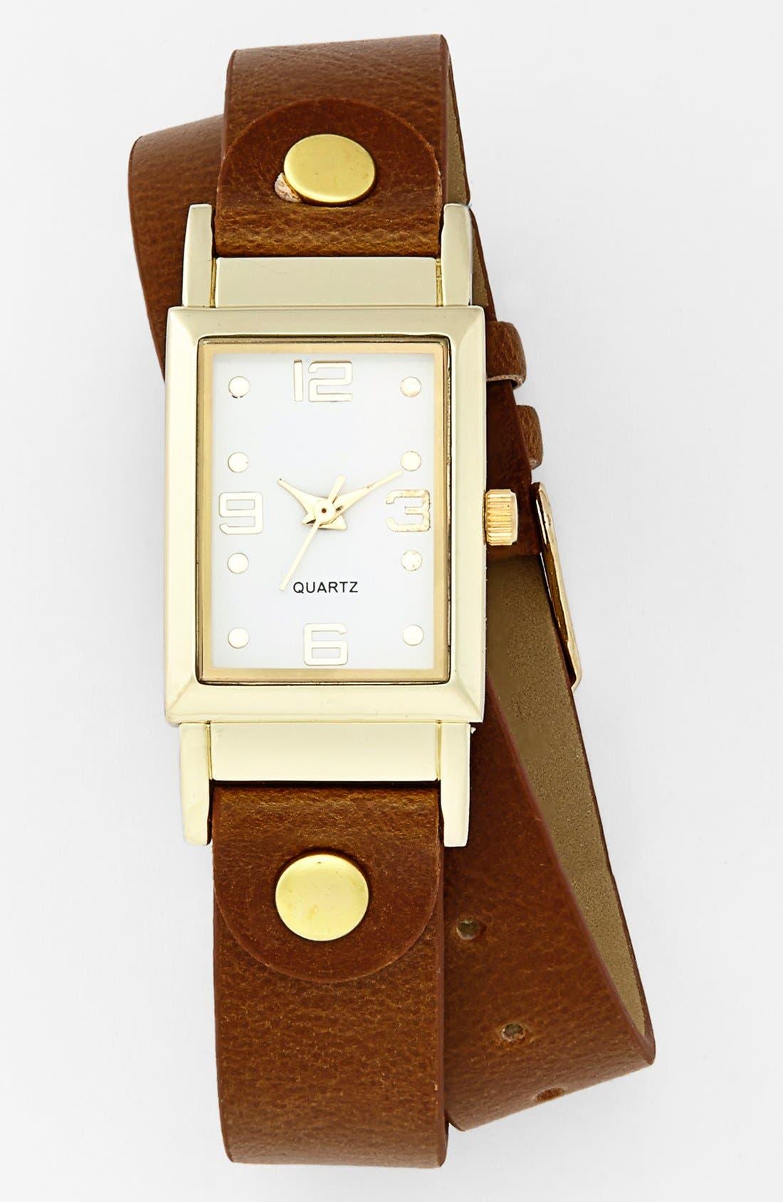 Faux Leather Wrap Watch, 20mm,                             Main thumbnail 1, color,                             710