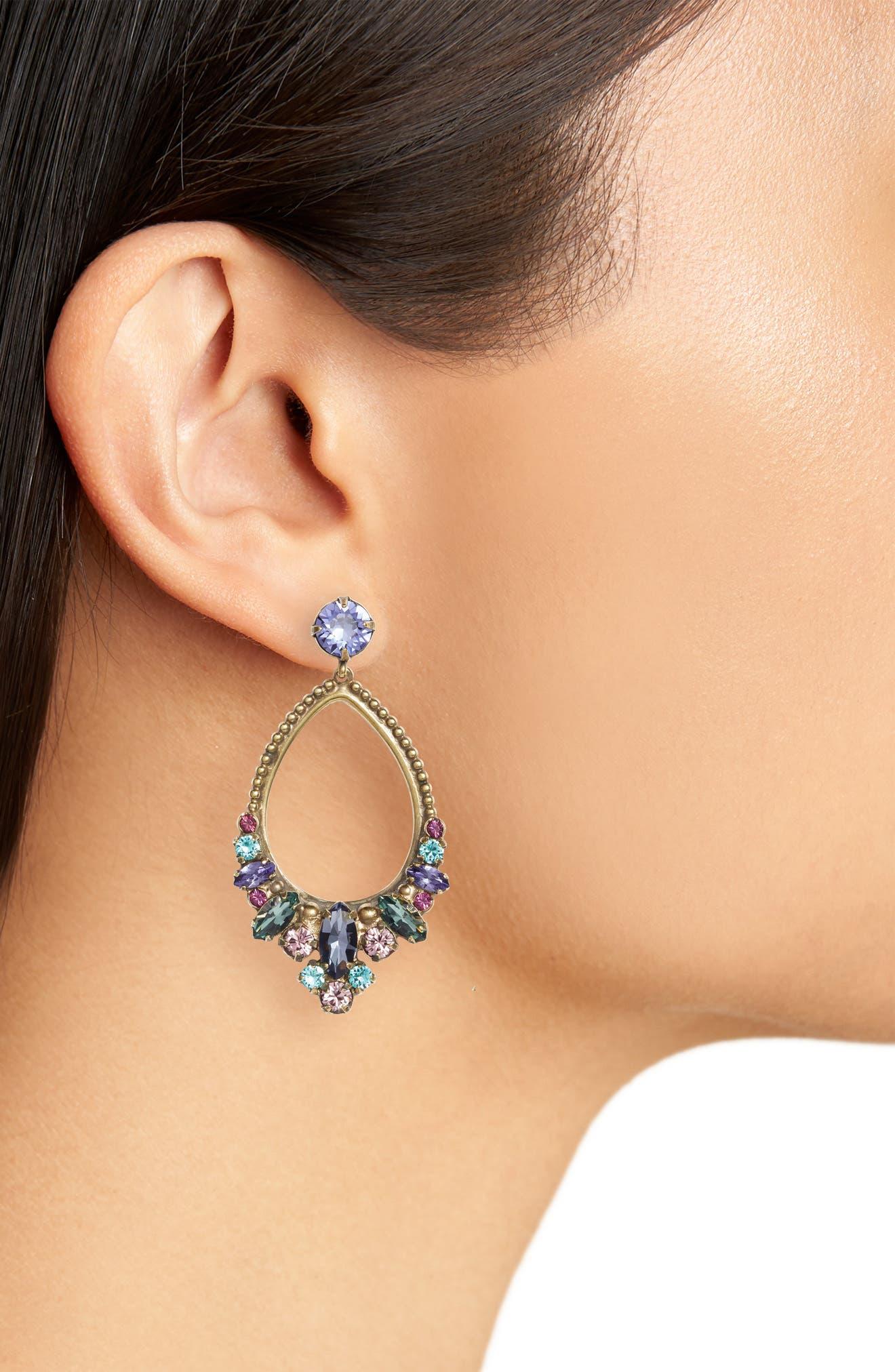 Noveau Navette Crystal Drop Earrings,                             Alternate thumbnail 2, color,