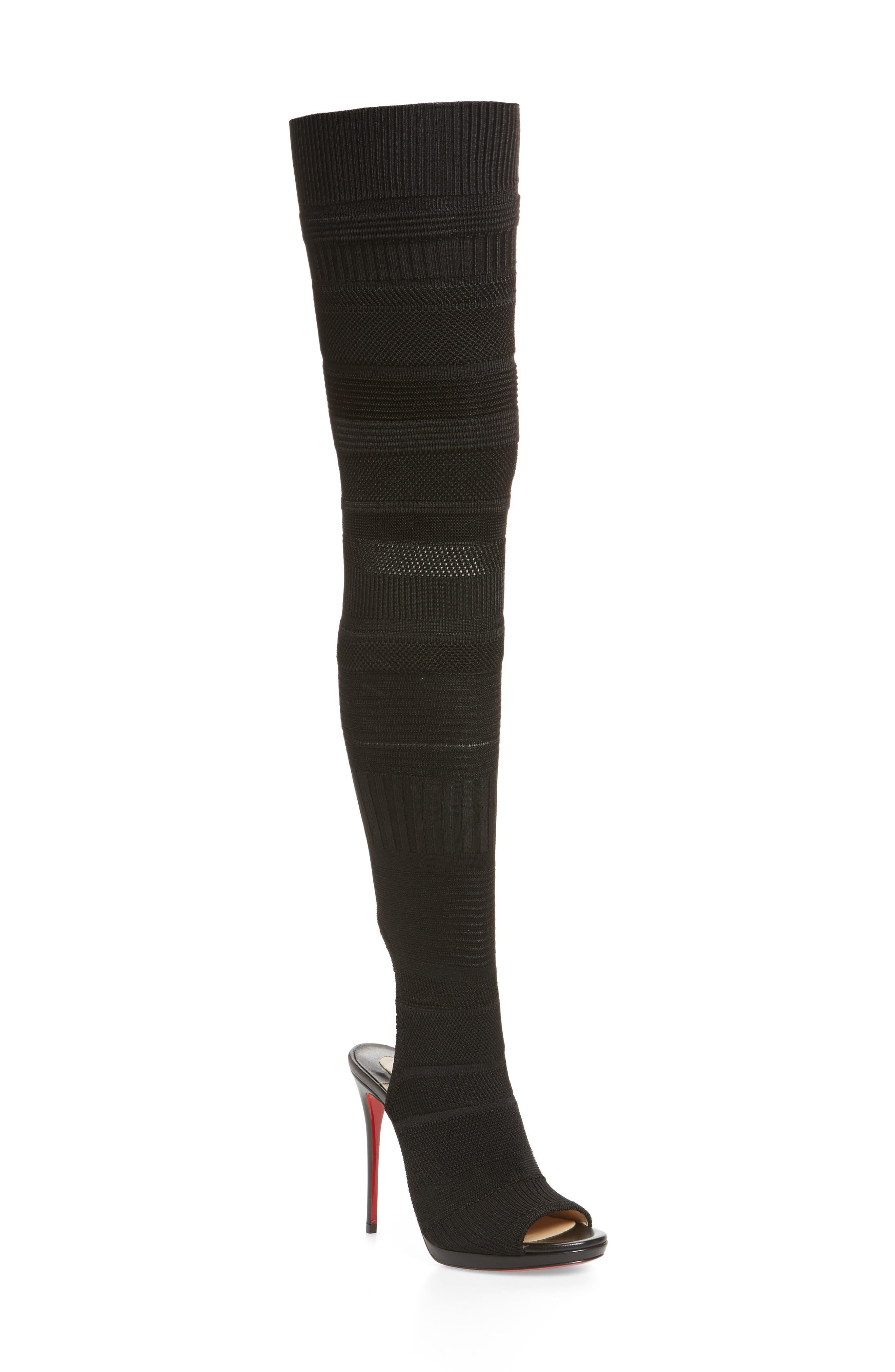 Cheminetta Over the Knee Sock Sandal,                             Main thumbnail 1, color,                             BLACK