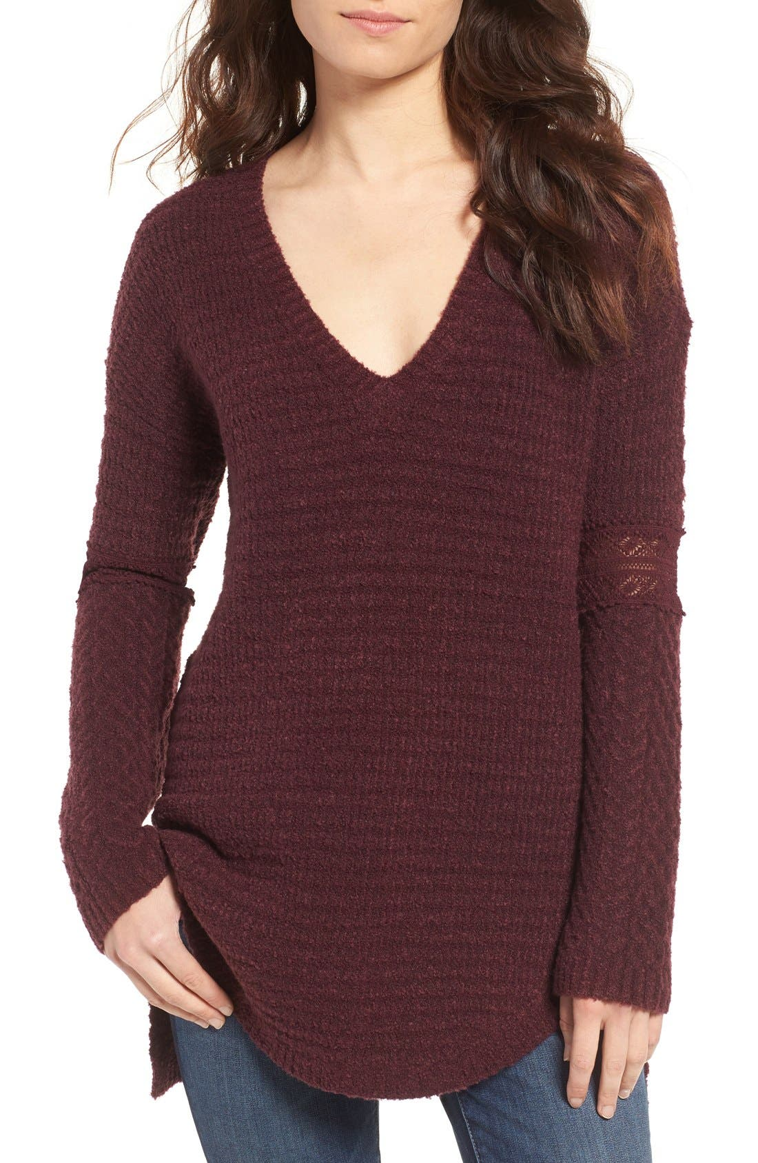 Lace Inset V-Neck Sweater,                             Main thumbnail 4, color,