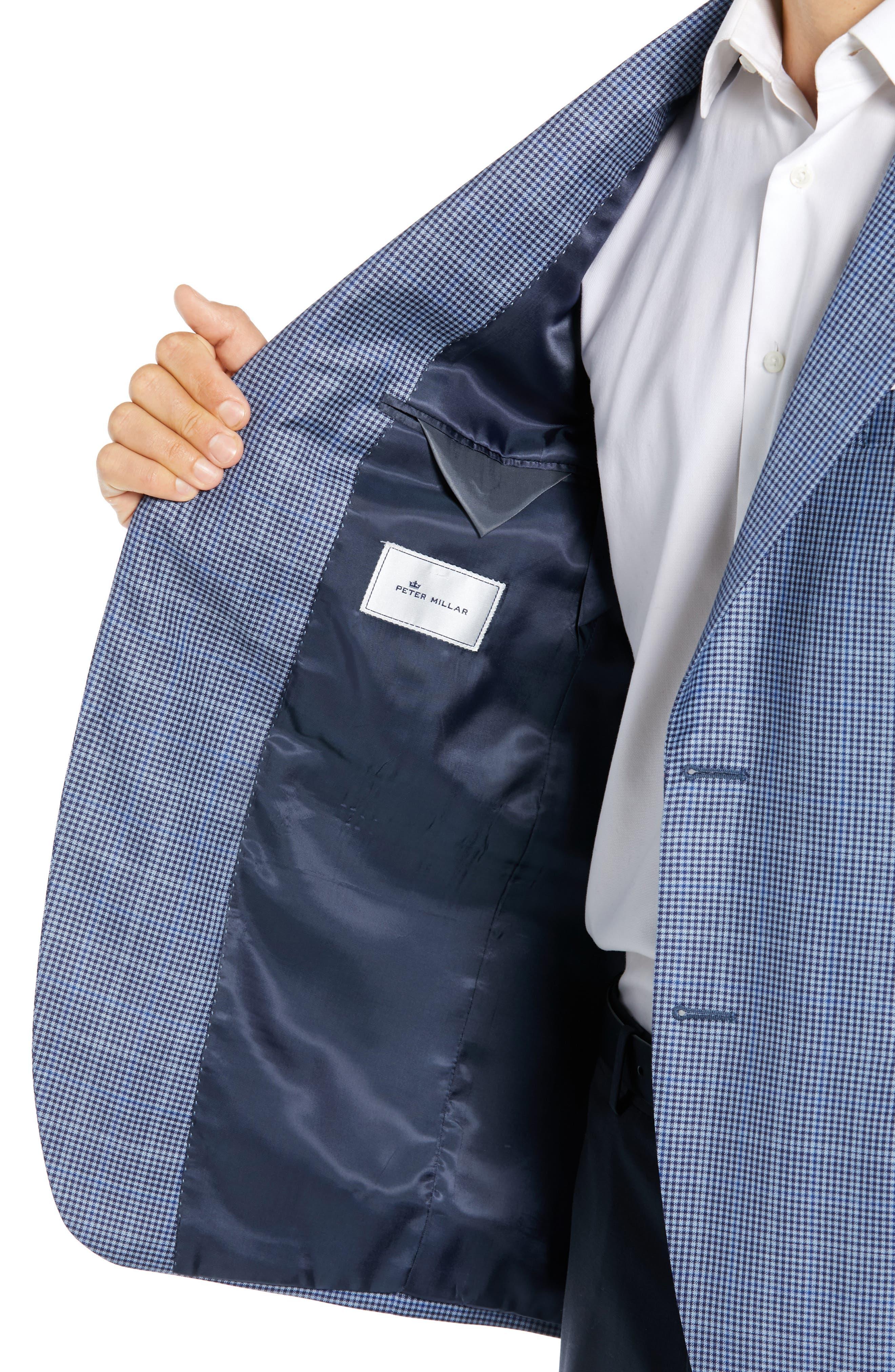 PETER MILLAR,                             Classic Fit Houndstooth Sport Coat,                             Alternate thumbnail 4, color,                             LIGHT BLUE