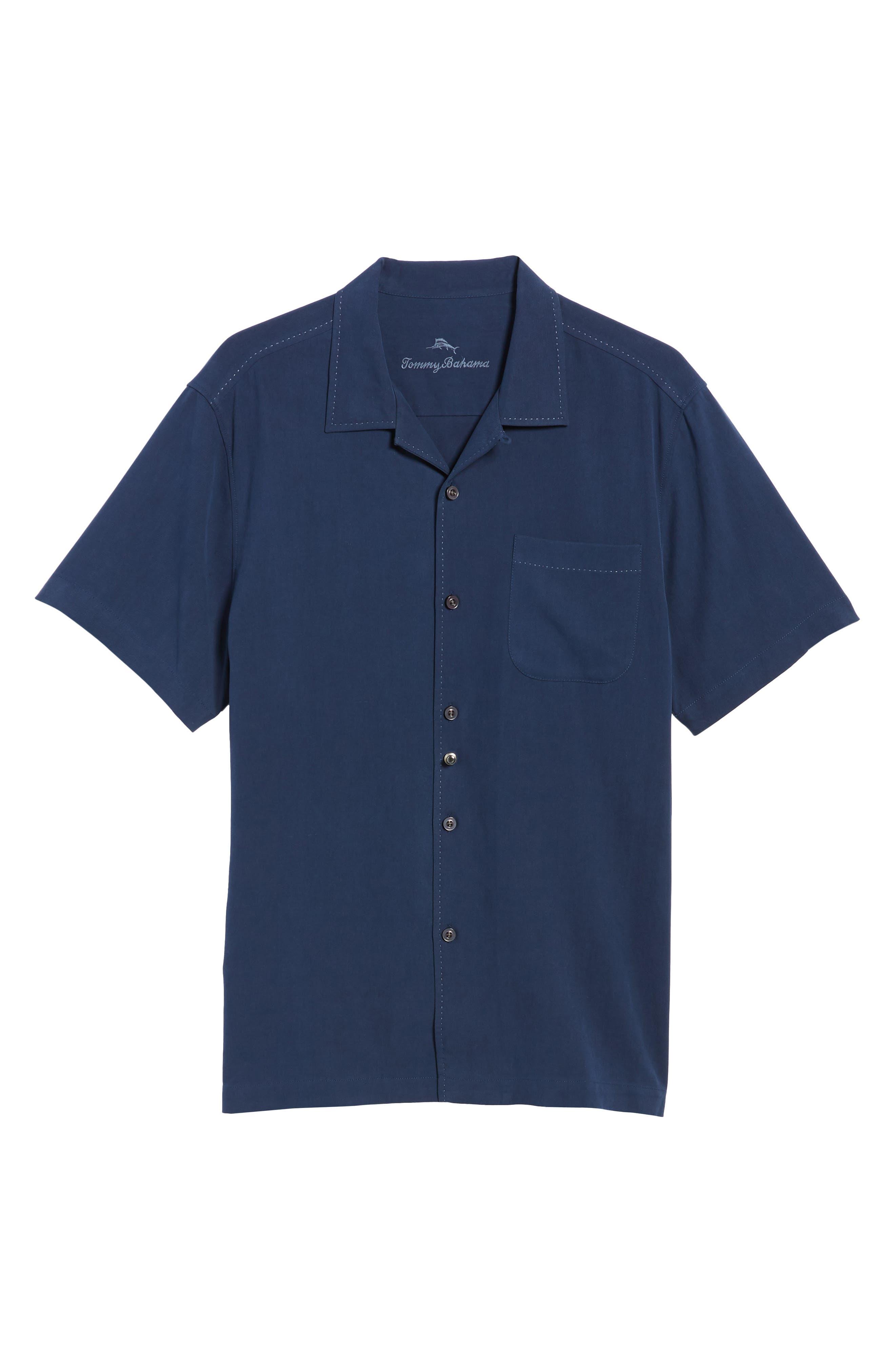 Catalina Silk Camp Shirt,                             Alternate thumbnail 6, color,                             NAVY
