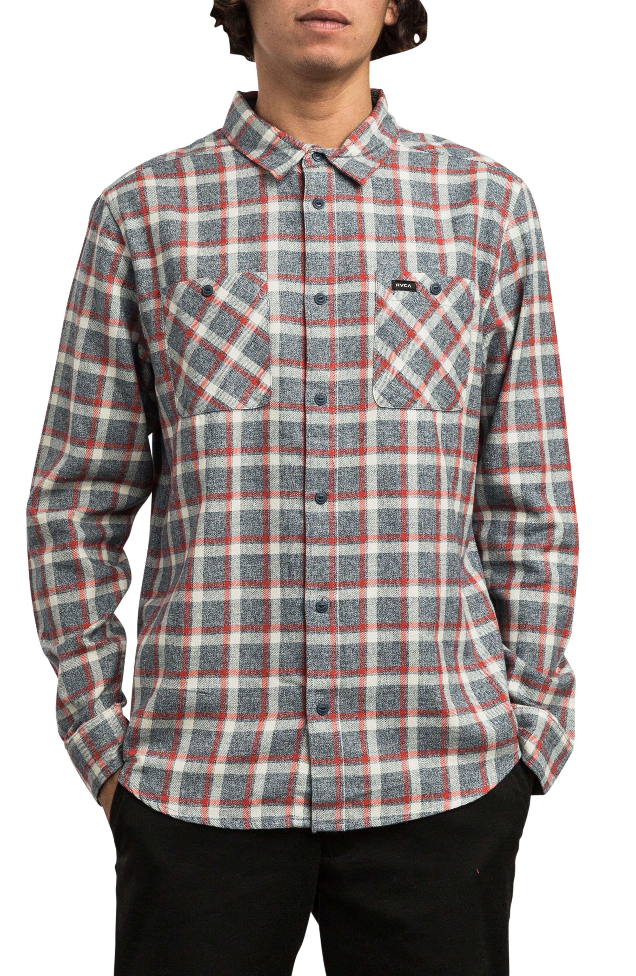Rvca Hero Flannel Shirt, Blue