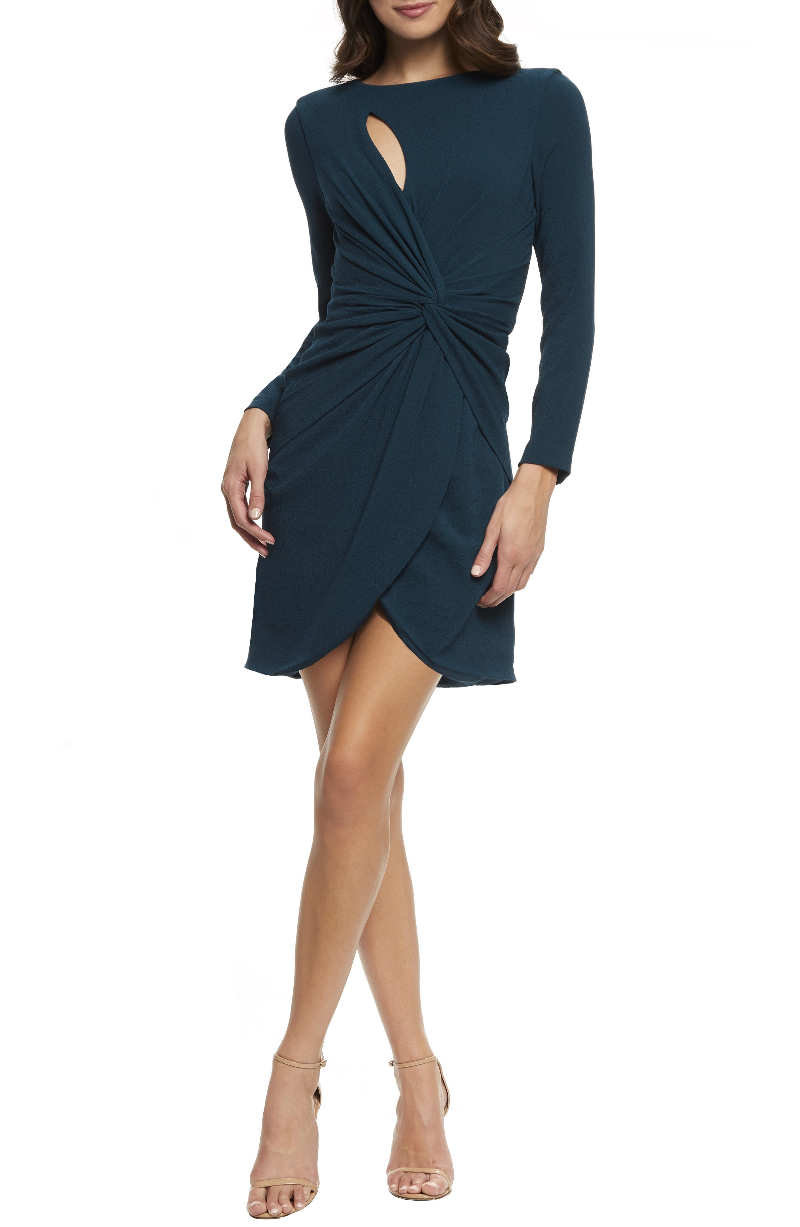 Dress The Population Coby Twisted Faux Wrap Cocktail Dress, Green