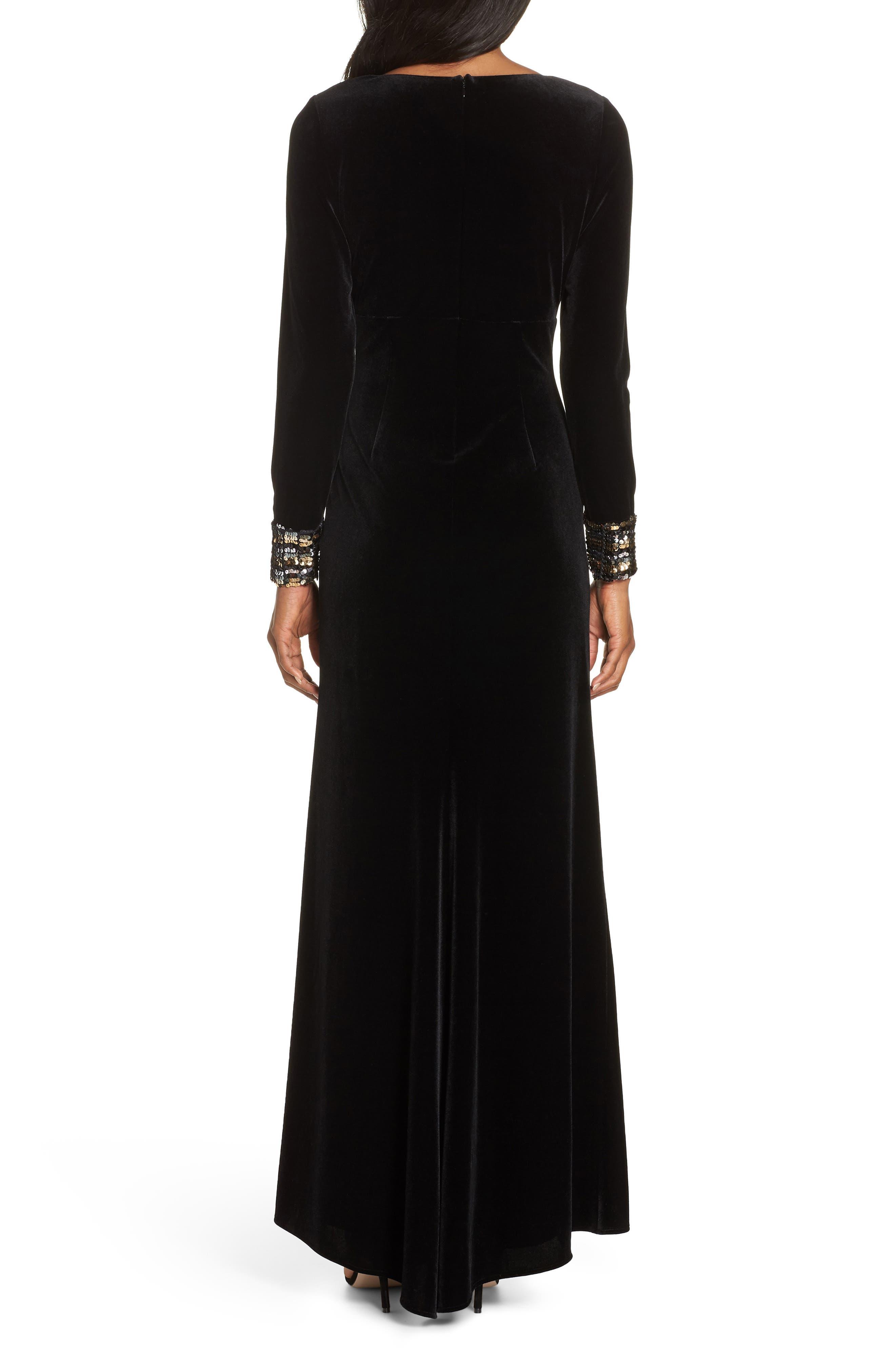 Sequin Cuff Stretch Velvet Gown,                             Alternate thumbnail 2, color,                             BLACK