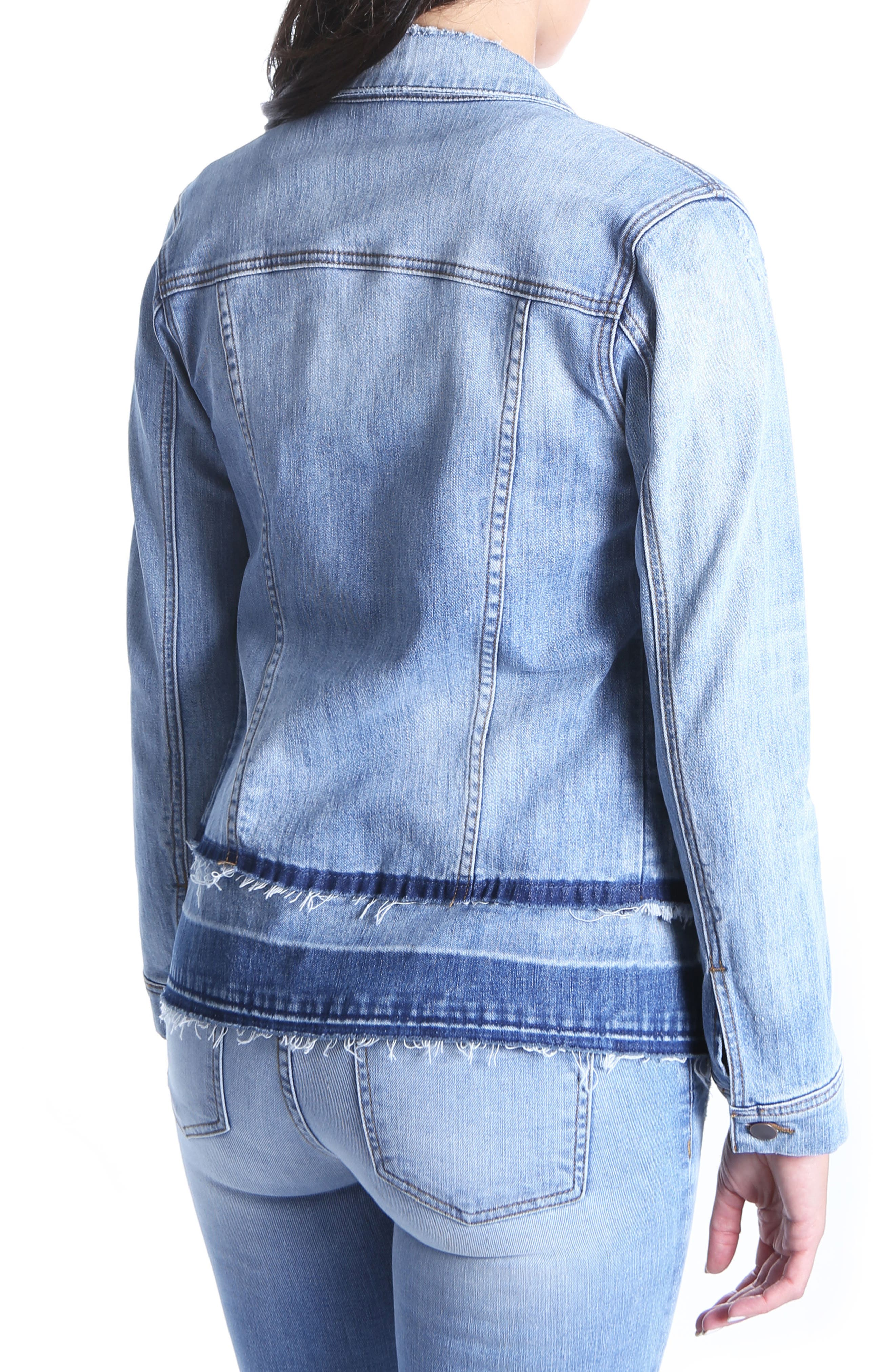 Double Release Hem Denim Jacket,                             Alternate thumbnail 2, color,                             419