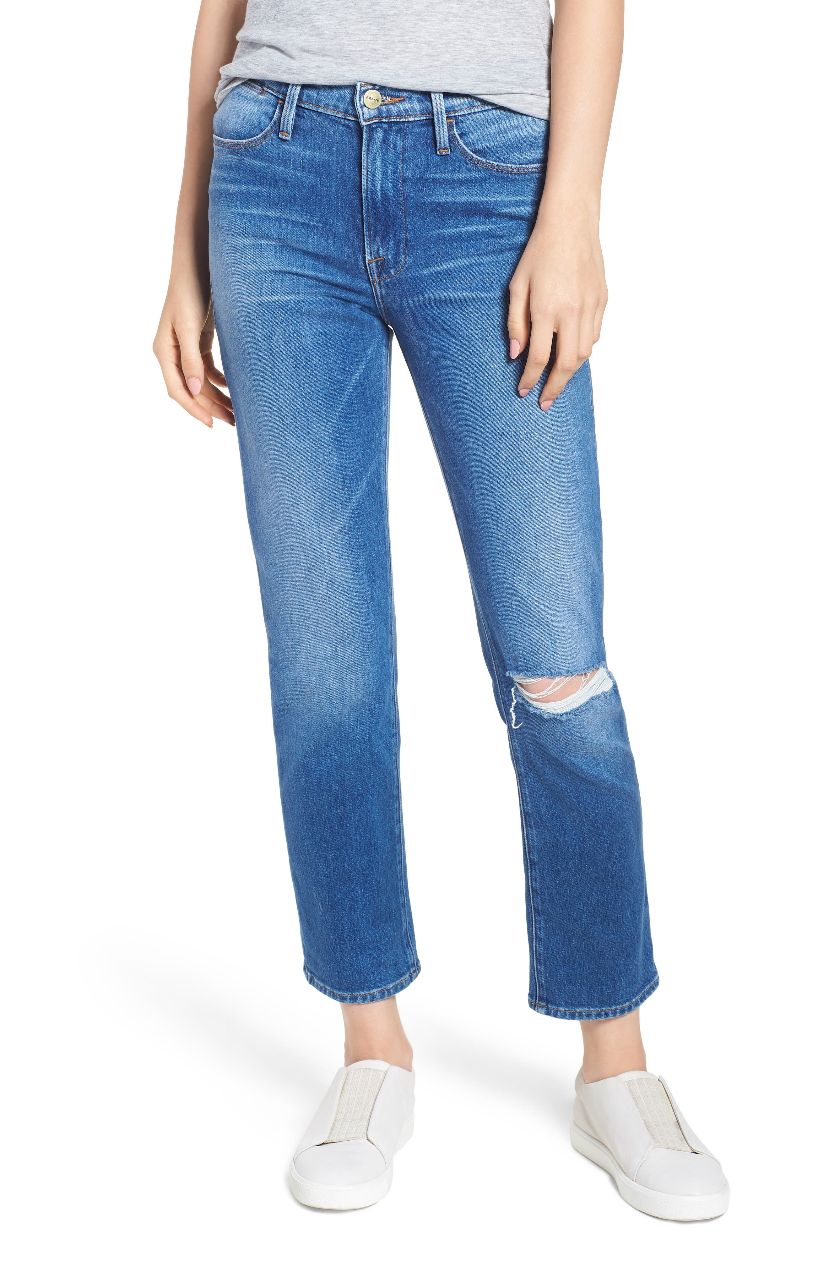 Le High Straight Leg Jeans,                             Main thumbnail 1, color,                             420