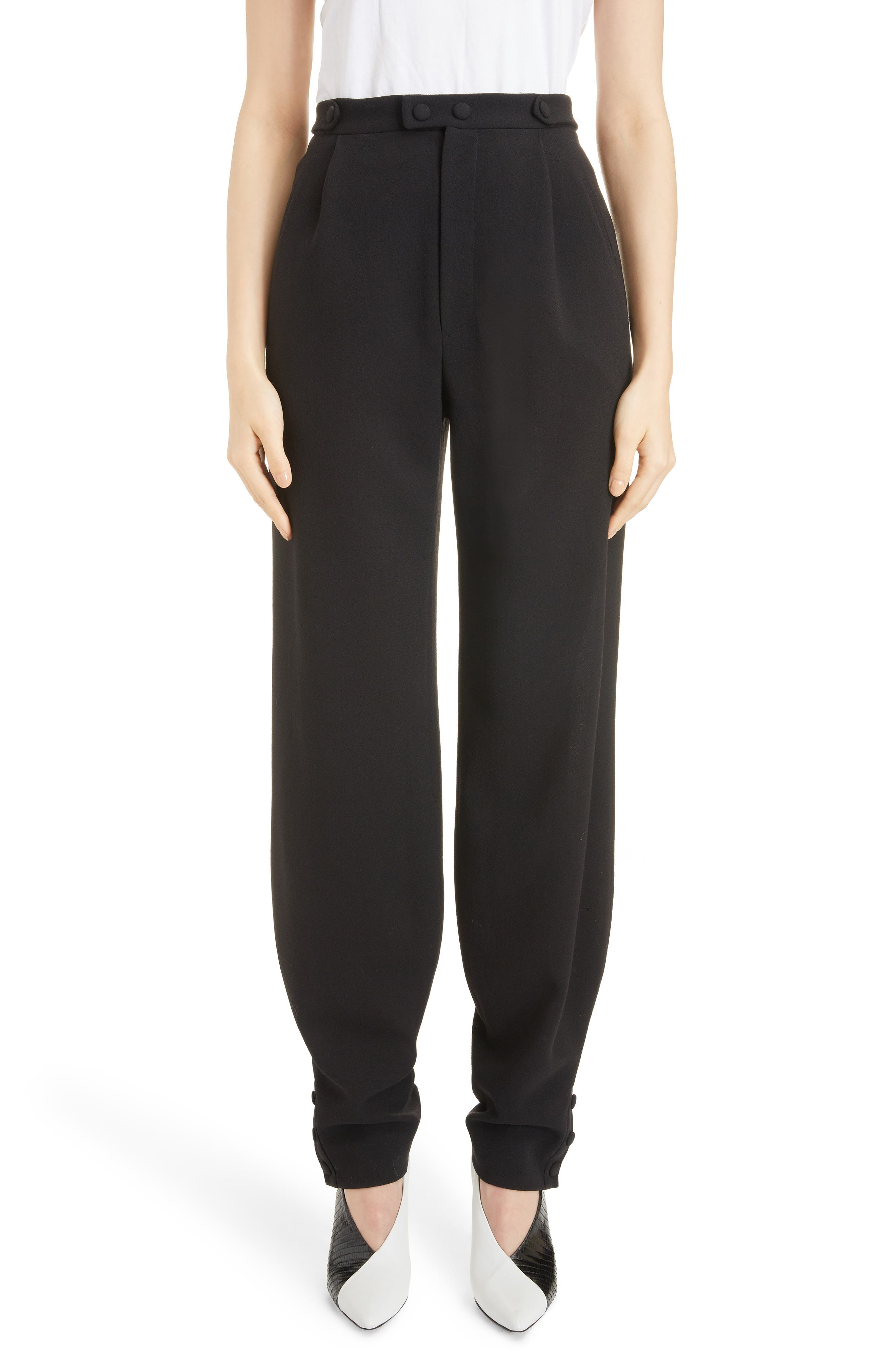 Button Detail Wool Trousers,                             Main thumbnail 1, color,                             BLACK