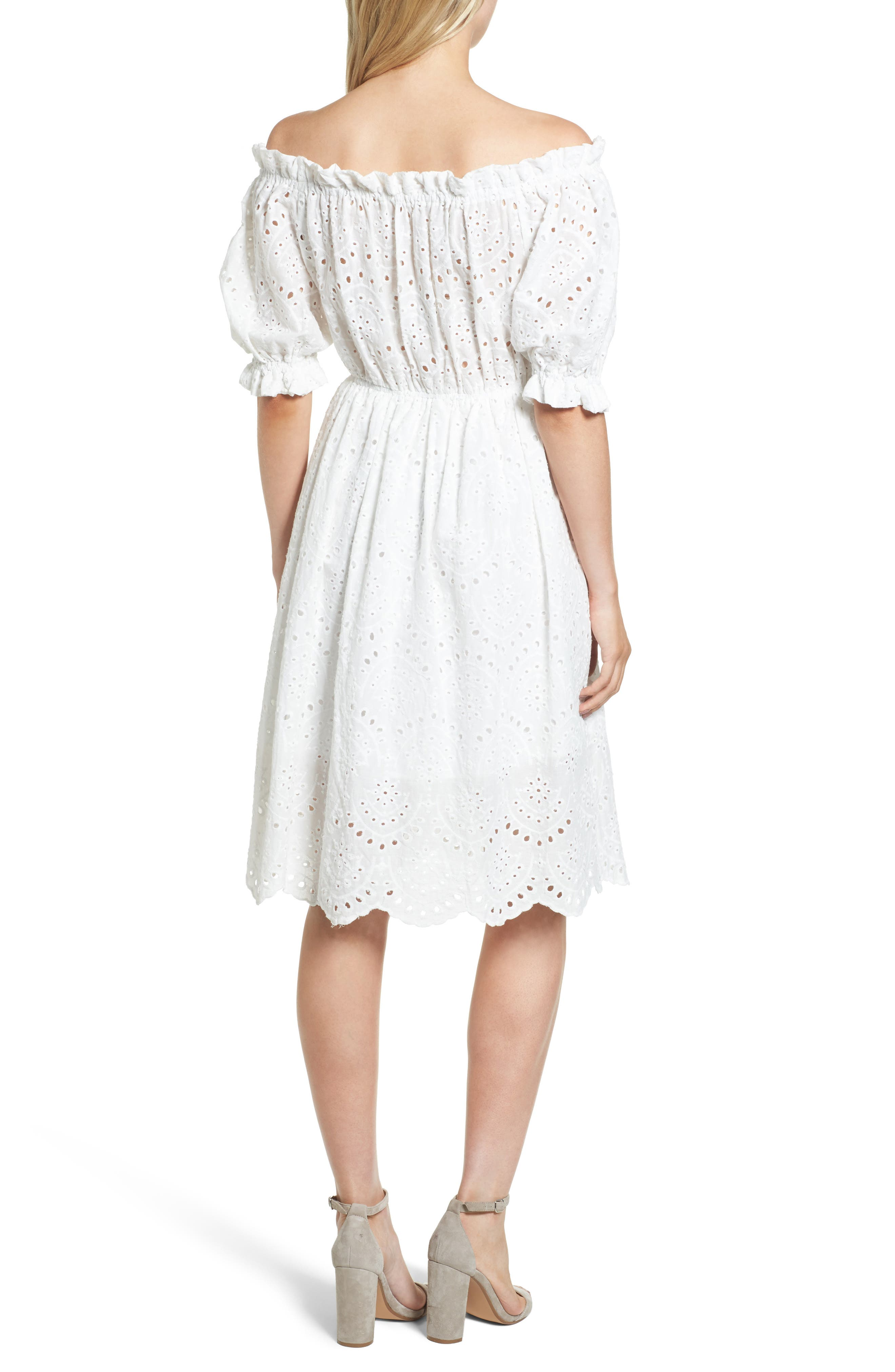 The White Party Off the Shoulder Dress,                             Alternate thumbnail 2, color,                             100