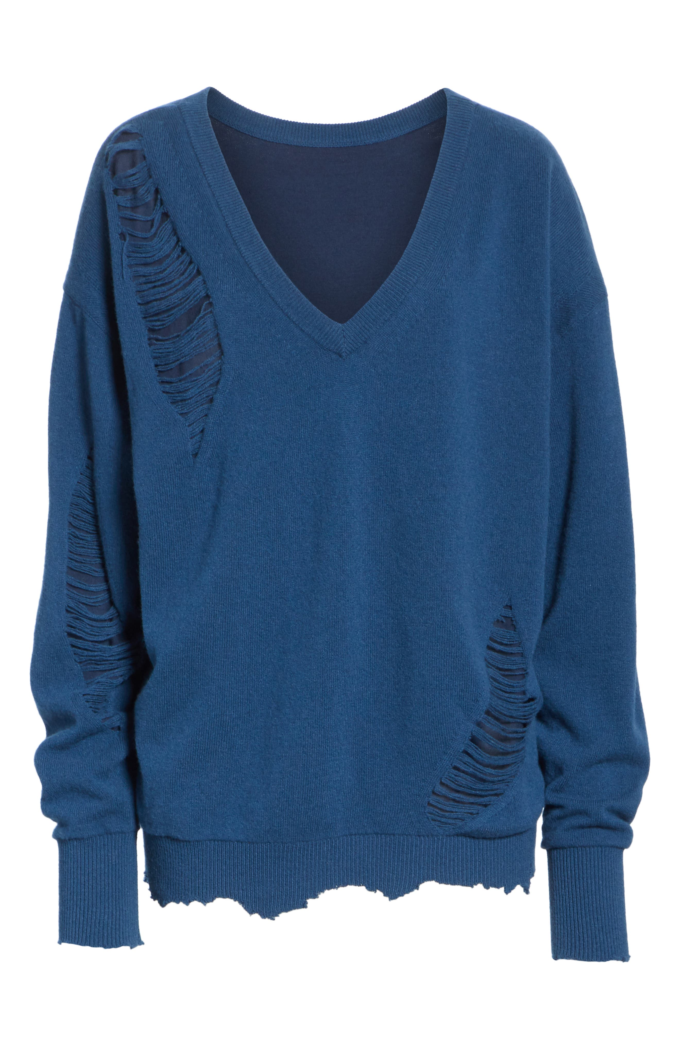 Distressed Wool Sweater,                             Alternate thumbnail 6, color,                             400