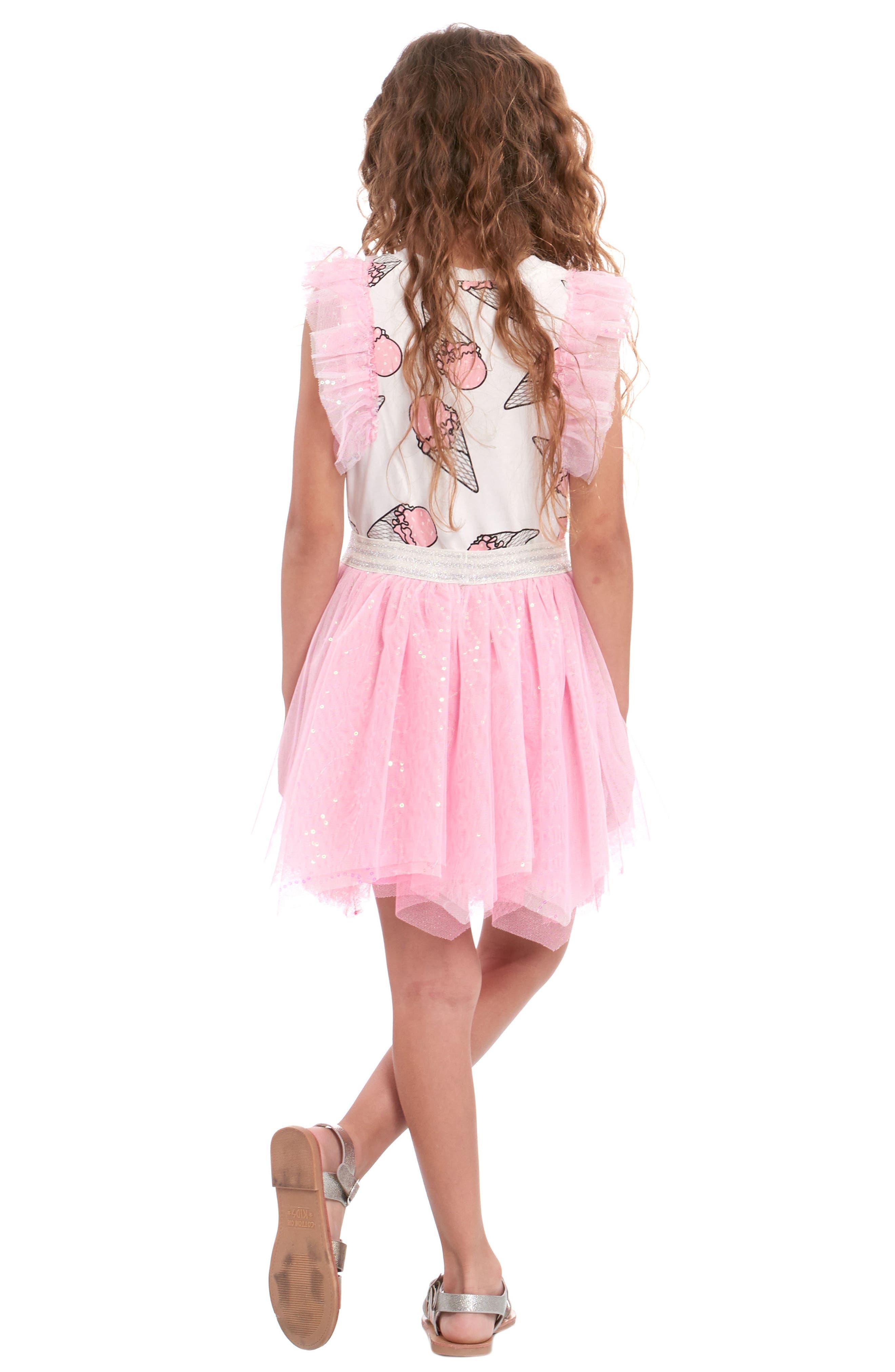 Ice Cream Print Dress,                             Alternate thumbnail 3, color,                             PINK MULTI
