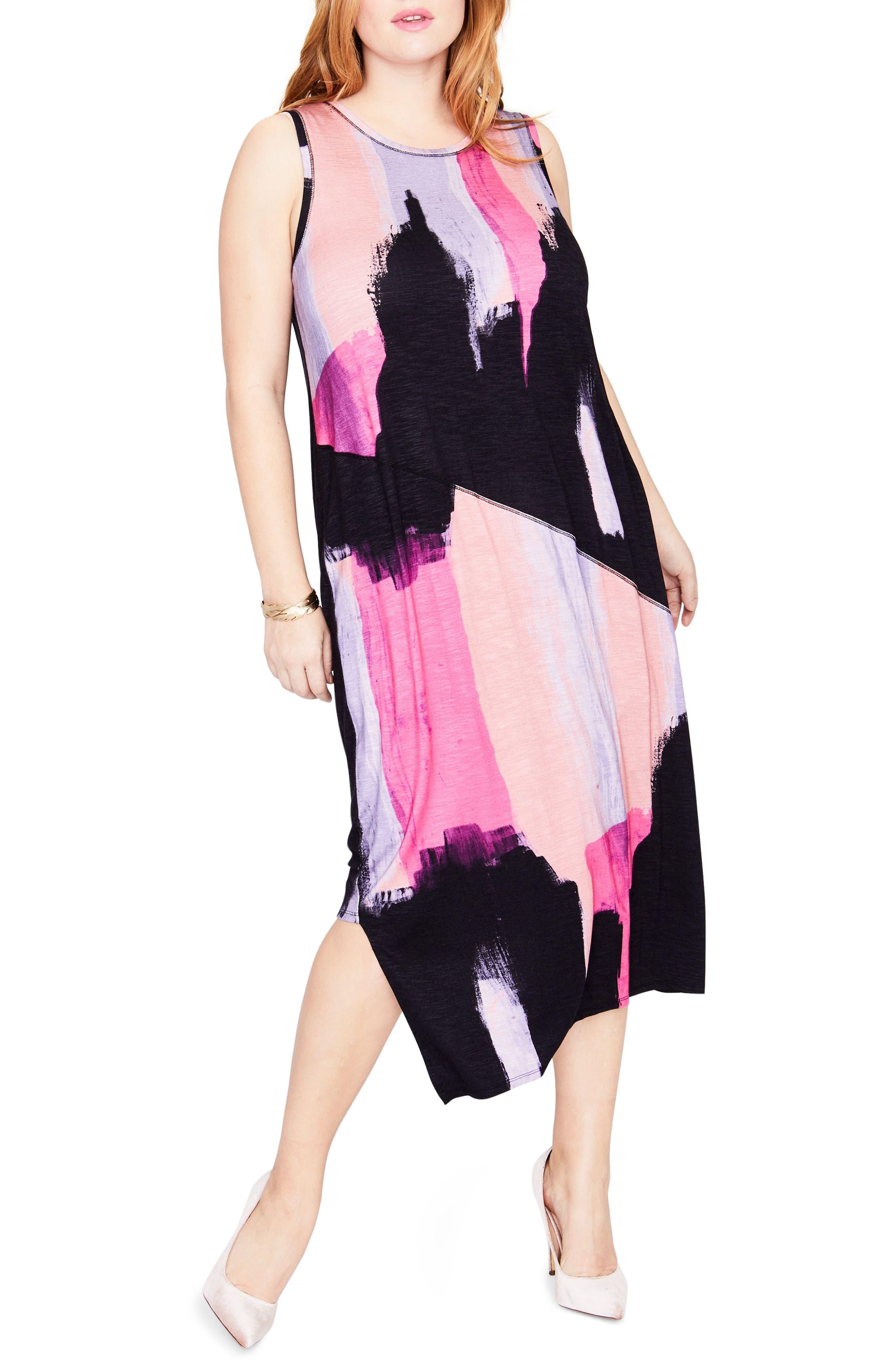 Draped Back Print Midi Dress,                             Main thumbnail 1, color,                             COSMIC PINK