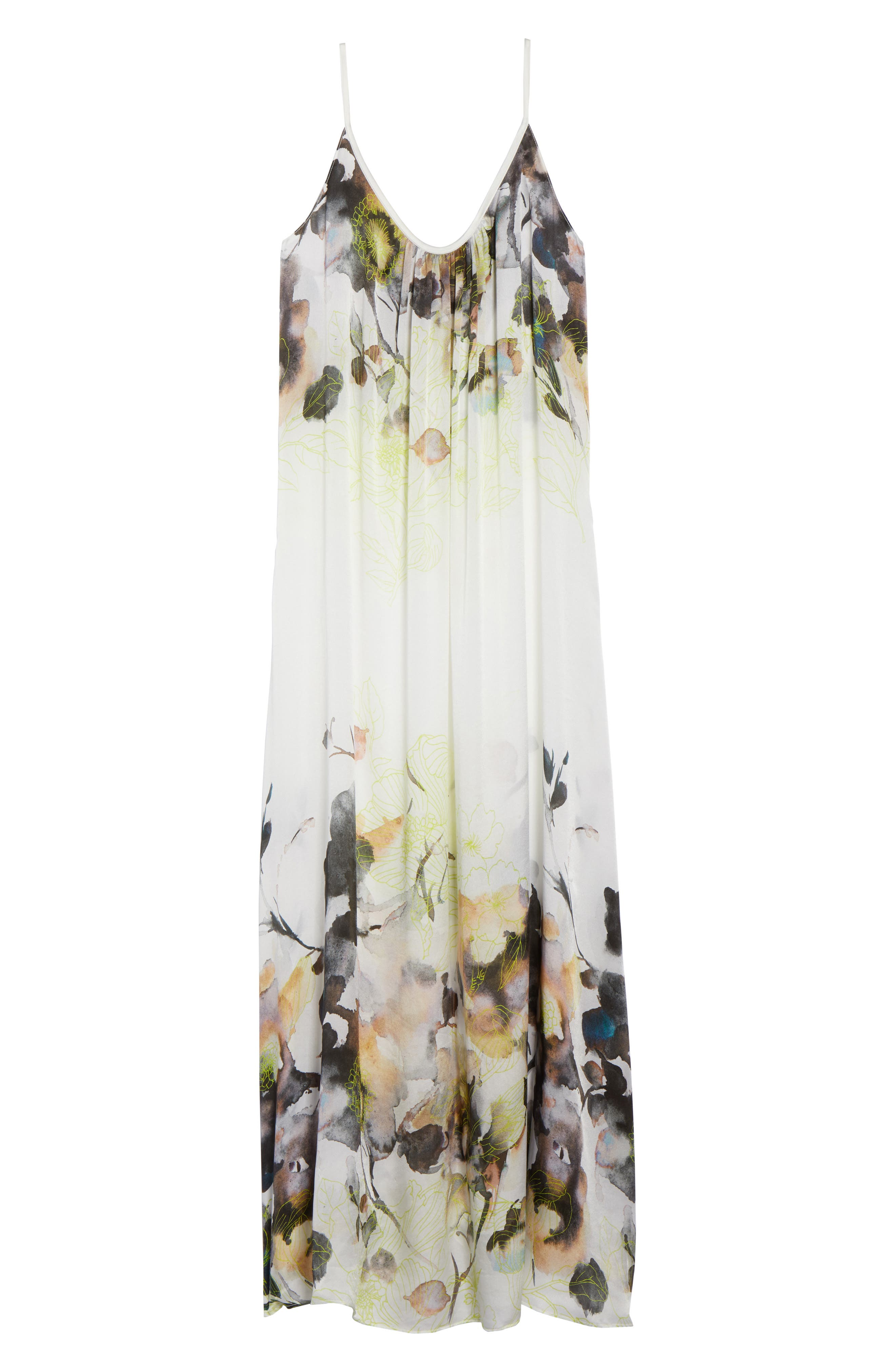 Floral Print Silk Nightgown,                             Alternate thumbnail 6, color,                             900