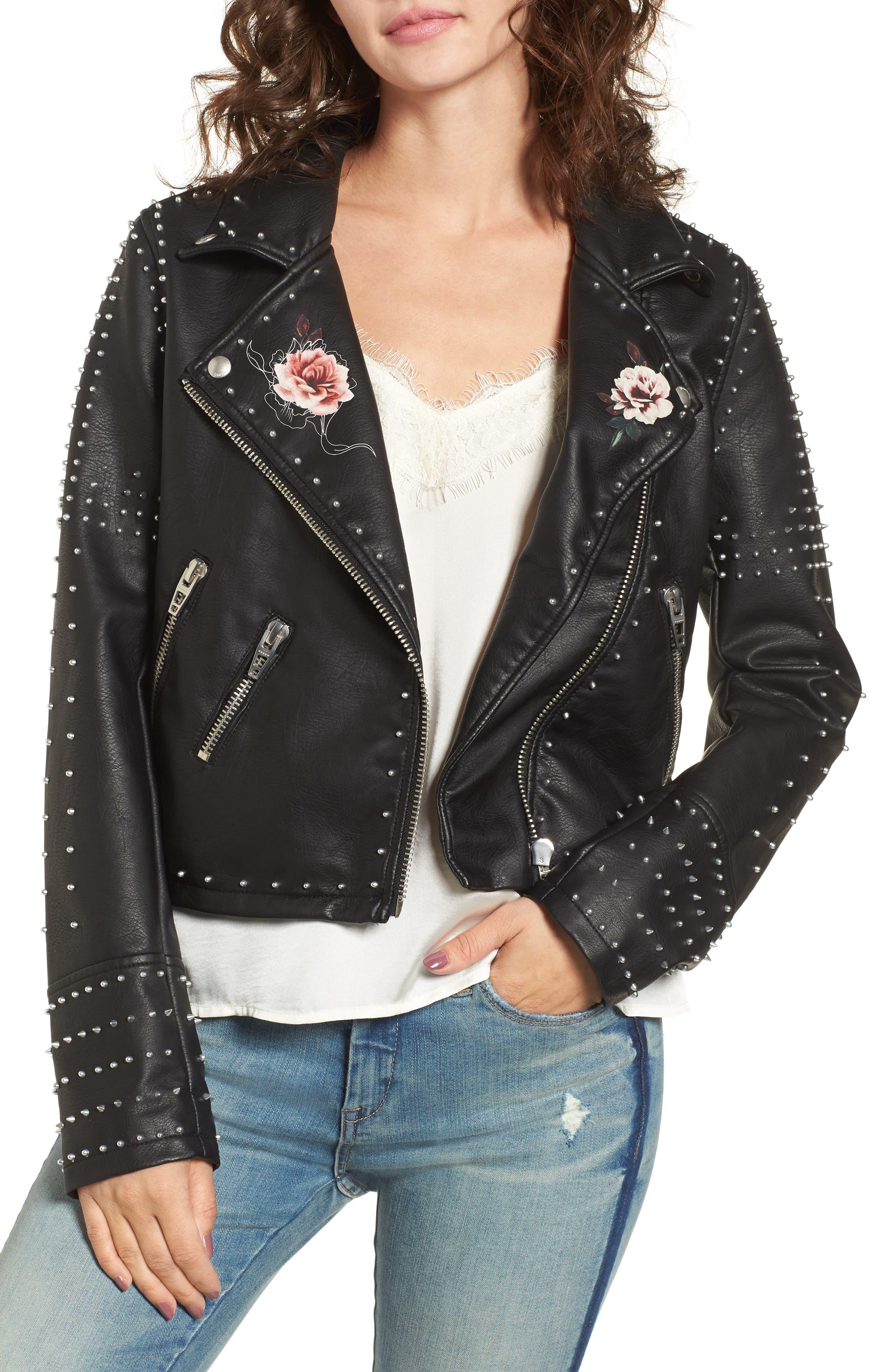 Printed Studded Moto Jacket,                         Main,                         color, 002
