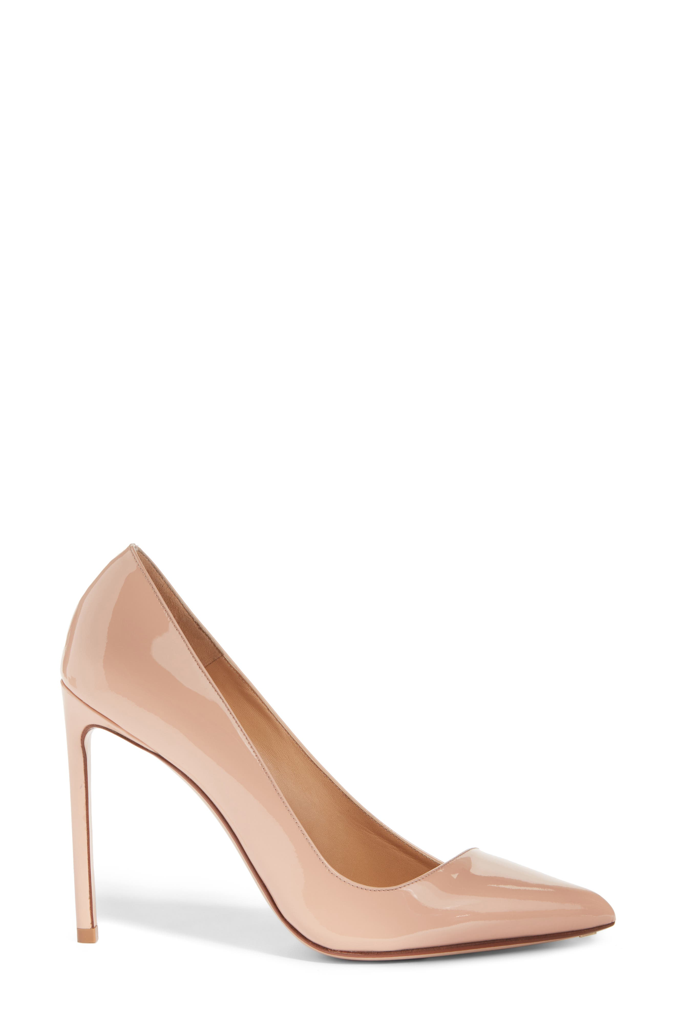 Pointy Toe Pump,                             Alternate thumbnail 3, color,                             BEIGE LEATHER