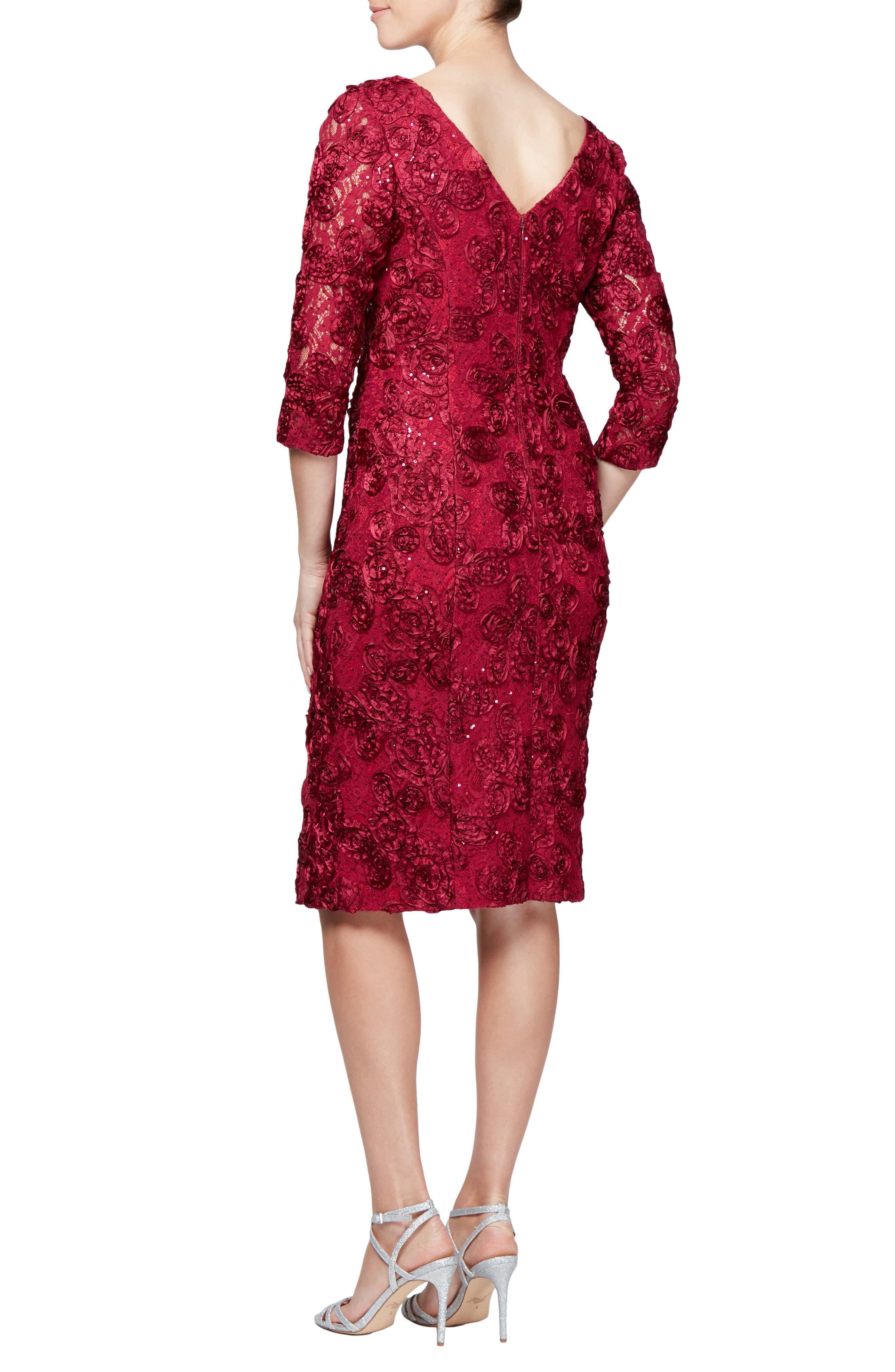 Rosette Shift Dress,                             Alternate thumbnail 2, color,                             CHERRY