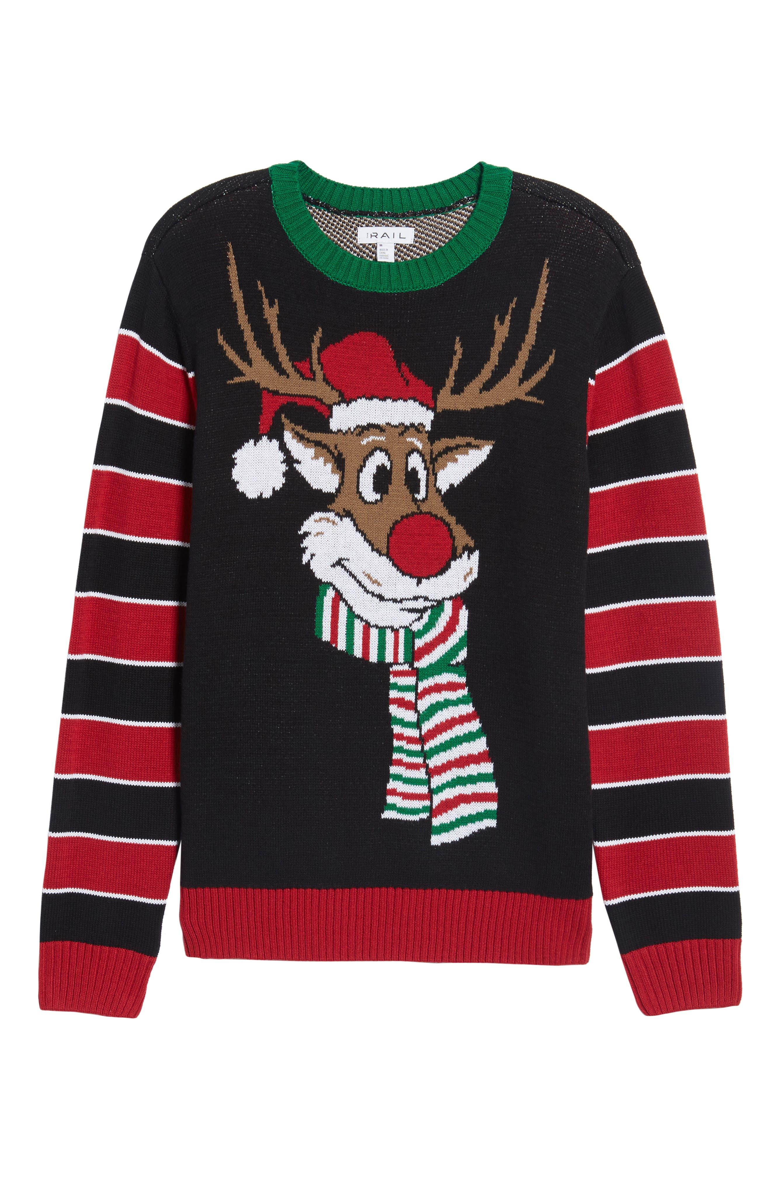Reindeer Sweater,                             Alternate thumbnail 6, color,                             001