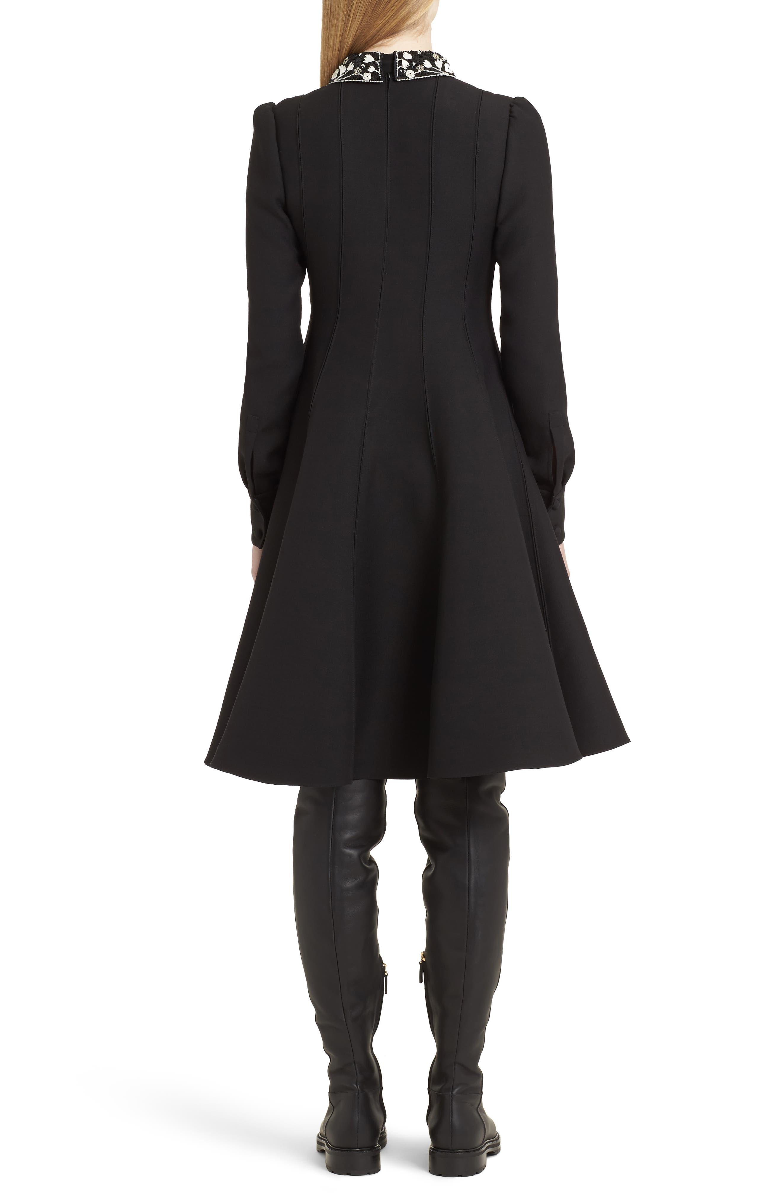 Bib Front Wool & Silk Dress,                             Alternate thumbnail 2, color,                             003
